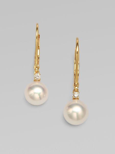 Mikimoto Pearl Earrings White Gold Earrings in Gold Mikimoto