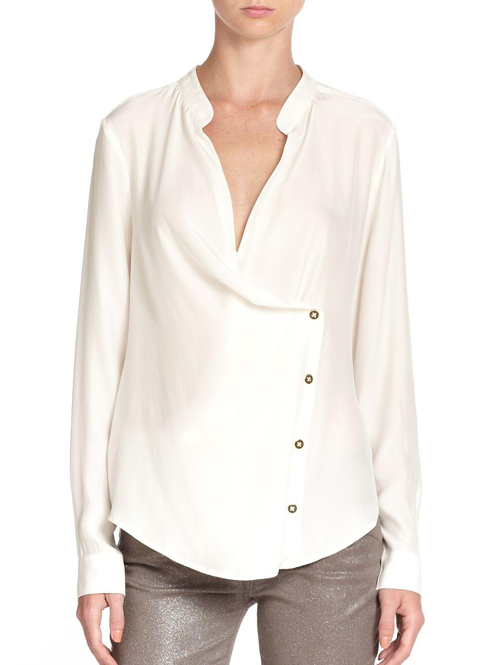 White Silk Long Sleeve Blouse