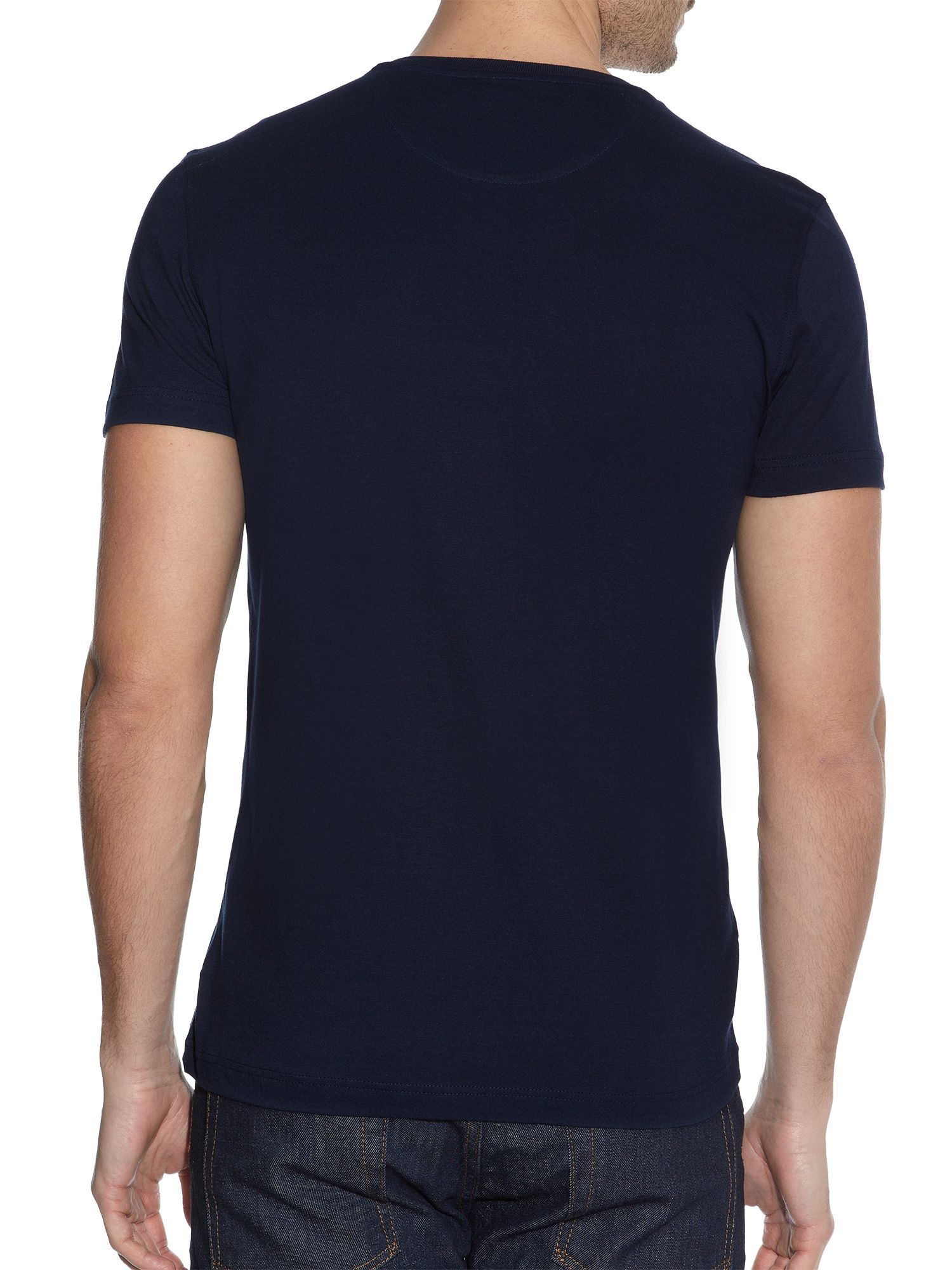 Lacoste Print Crew Neck Regular Fit T Shirt In Blue For