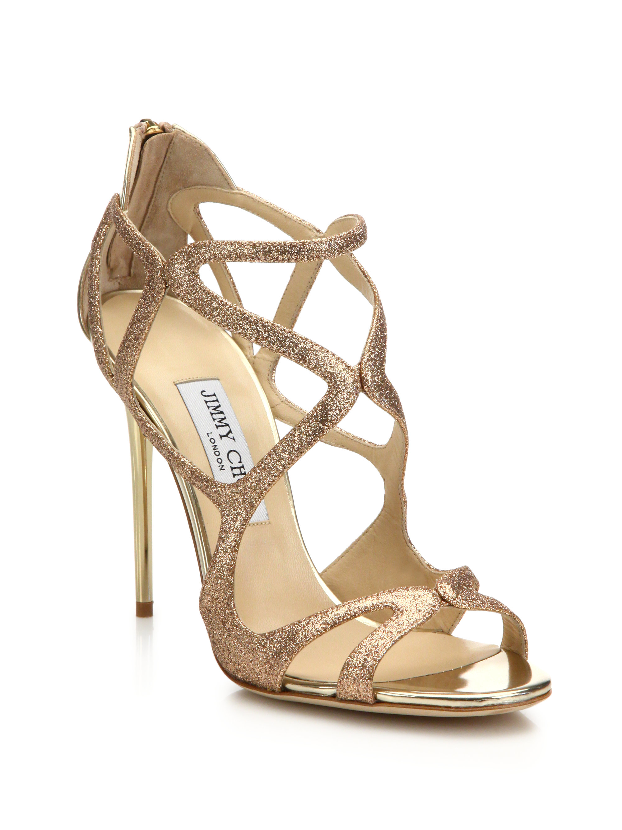 2f28e44d0af5 ... reduced lyst jimmy choo leslie glitter metallic leather sandals in  metallic 49fc1 36db4