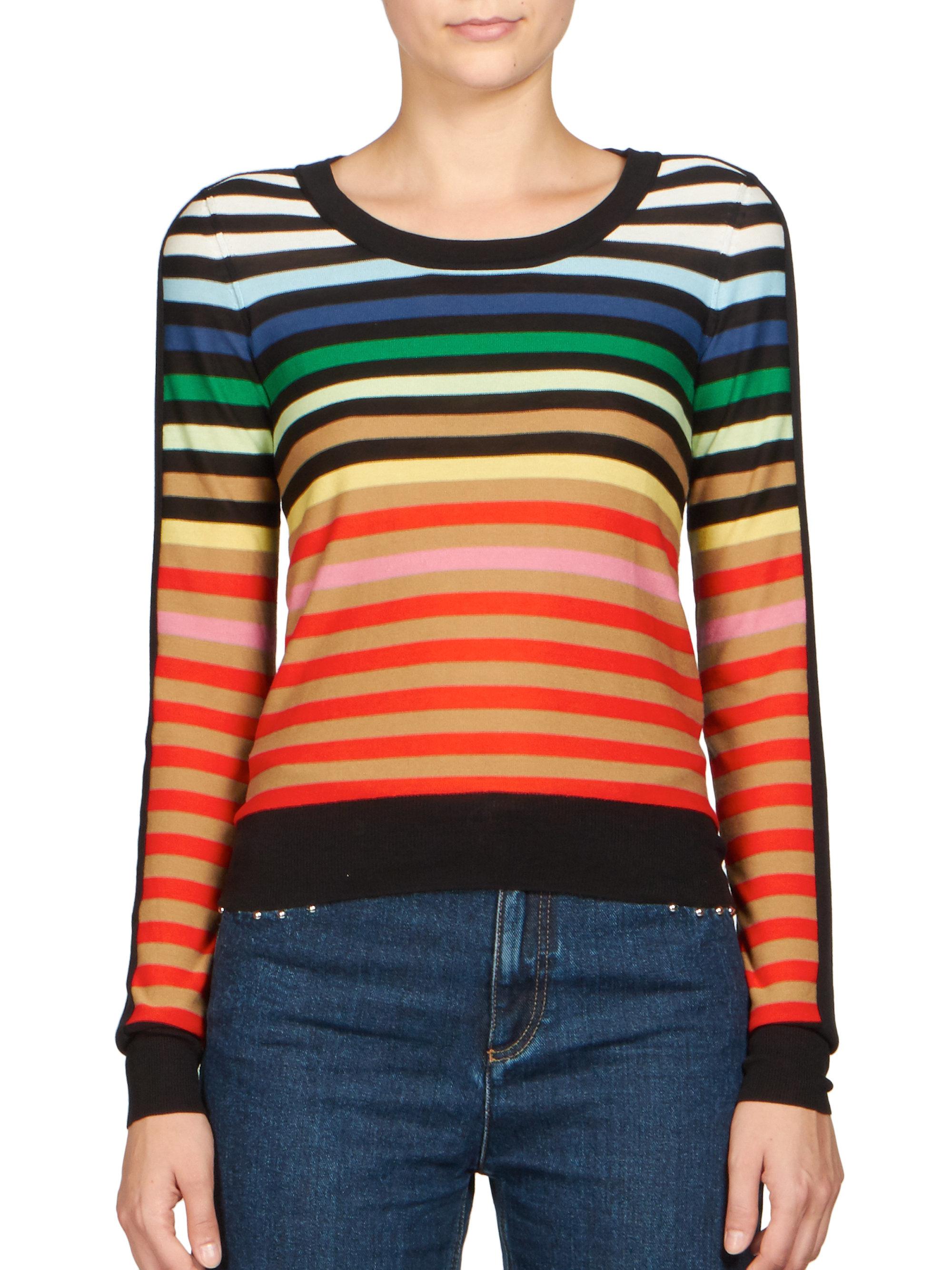Sonia rykiel Silk & Cotton Multicolor-striped Sweater | Lyst