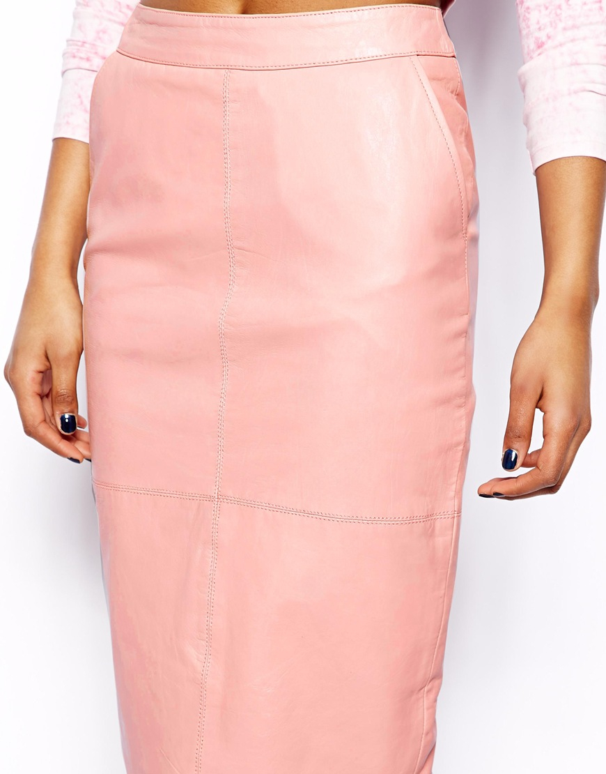 Leather pencil skirt pink – New skirt this season blog