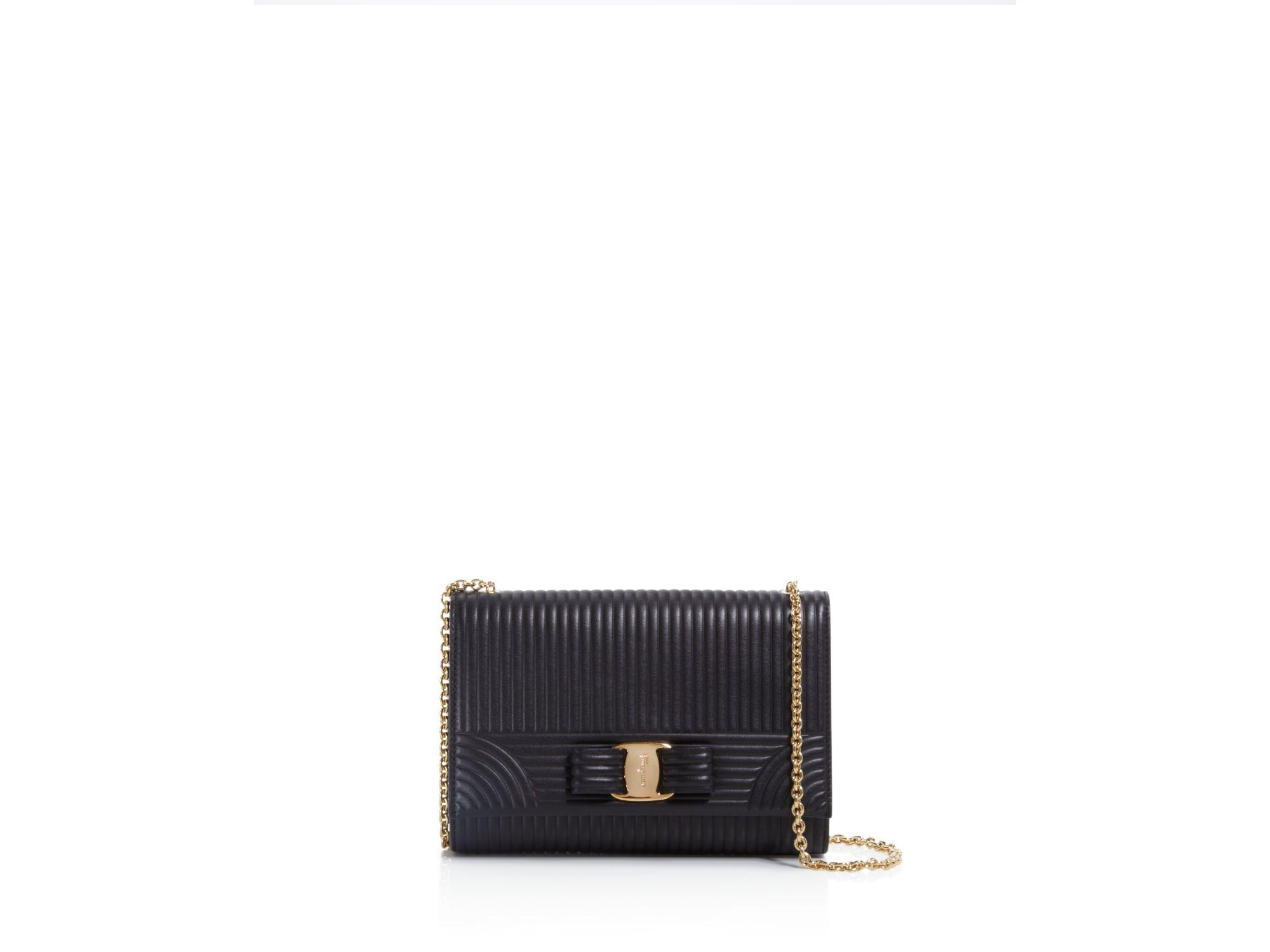 b1e5638f85b1 Lyst - Ferragamo Vara Wave Mini Bag in Black