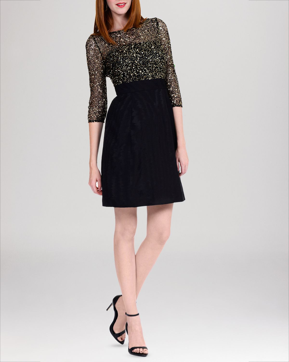 Lyst - Kay Unger Dress - Three Quarter Sleeve Sequin Lace in Black
