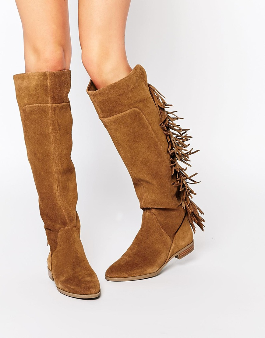 Aldo Cyndy Tan Suede Fringe Knee Boots in Brown | Lyst