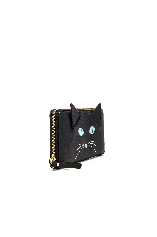 Kate Spade Lacey Cat Zip Wallet In Black Black Multi Lyst