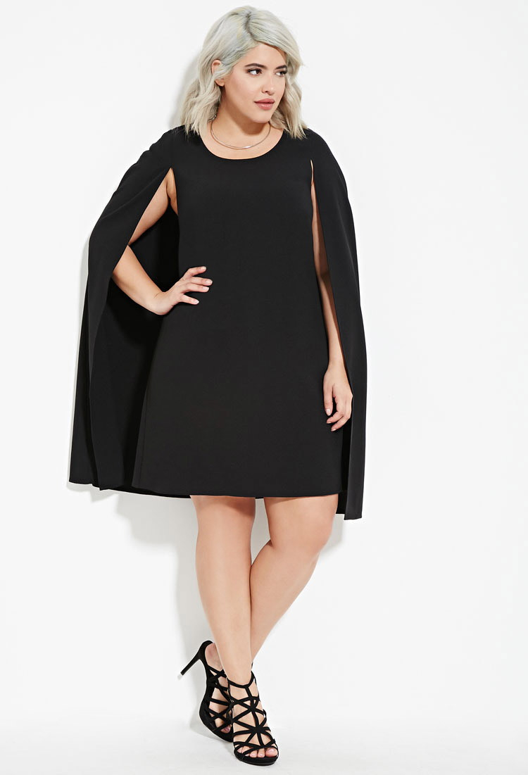 Forever 21 Plus Size Layered Cape Dress in Black | Lyst