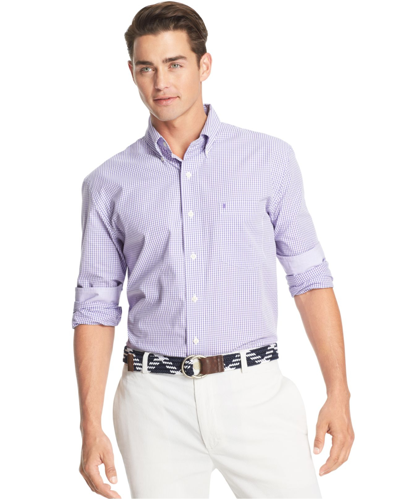 Izod essential big and tall long sleeve gingham shirt in for Izod big and tall essential solid shirt