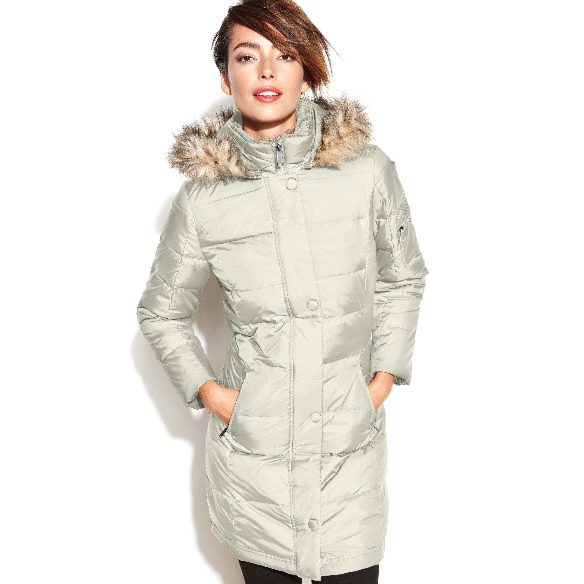 dc4808d58 Dkny Hooded Faux Fur Trim Belted Down Puffer Coat - Tradingbasis