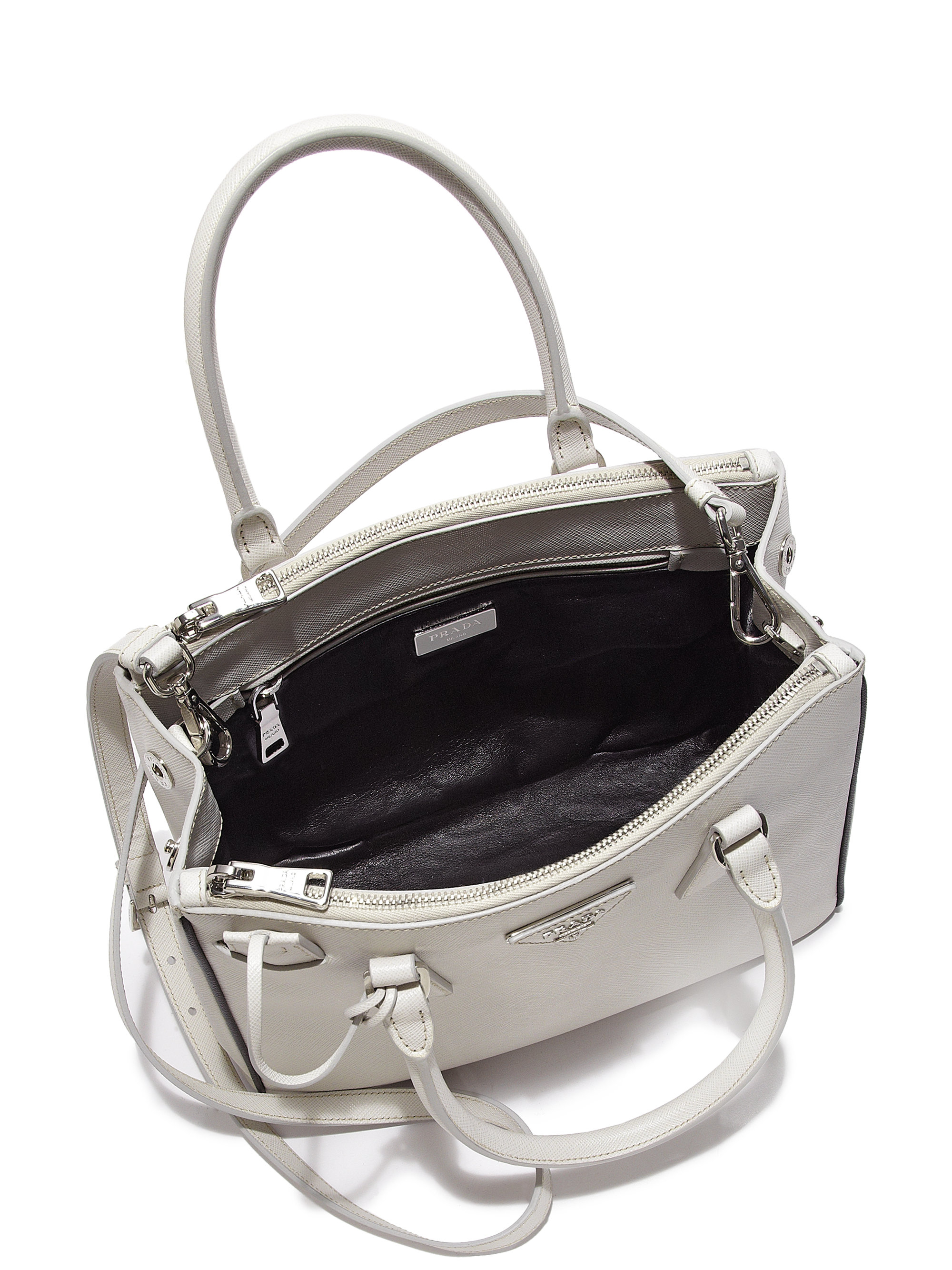 prada small double-handle nylon tote bag