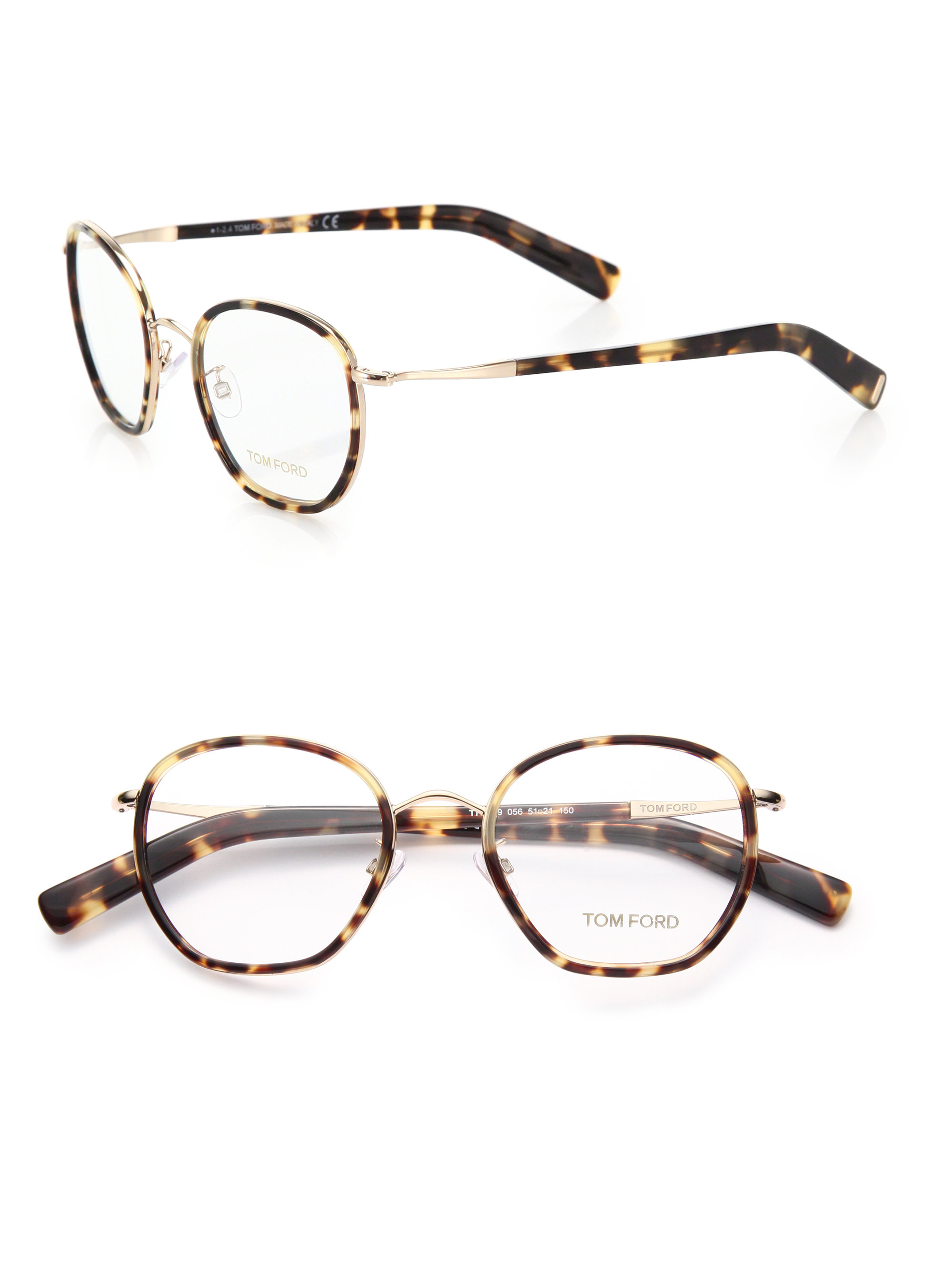 49a1196b4e Tom Ford 51mm Round Acetate   Metal Optical Glasses in Brown - Lyst