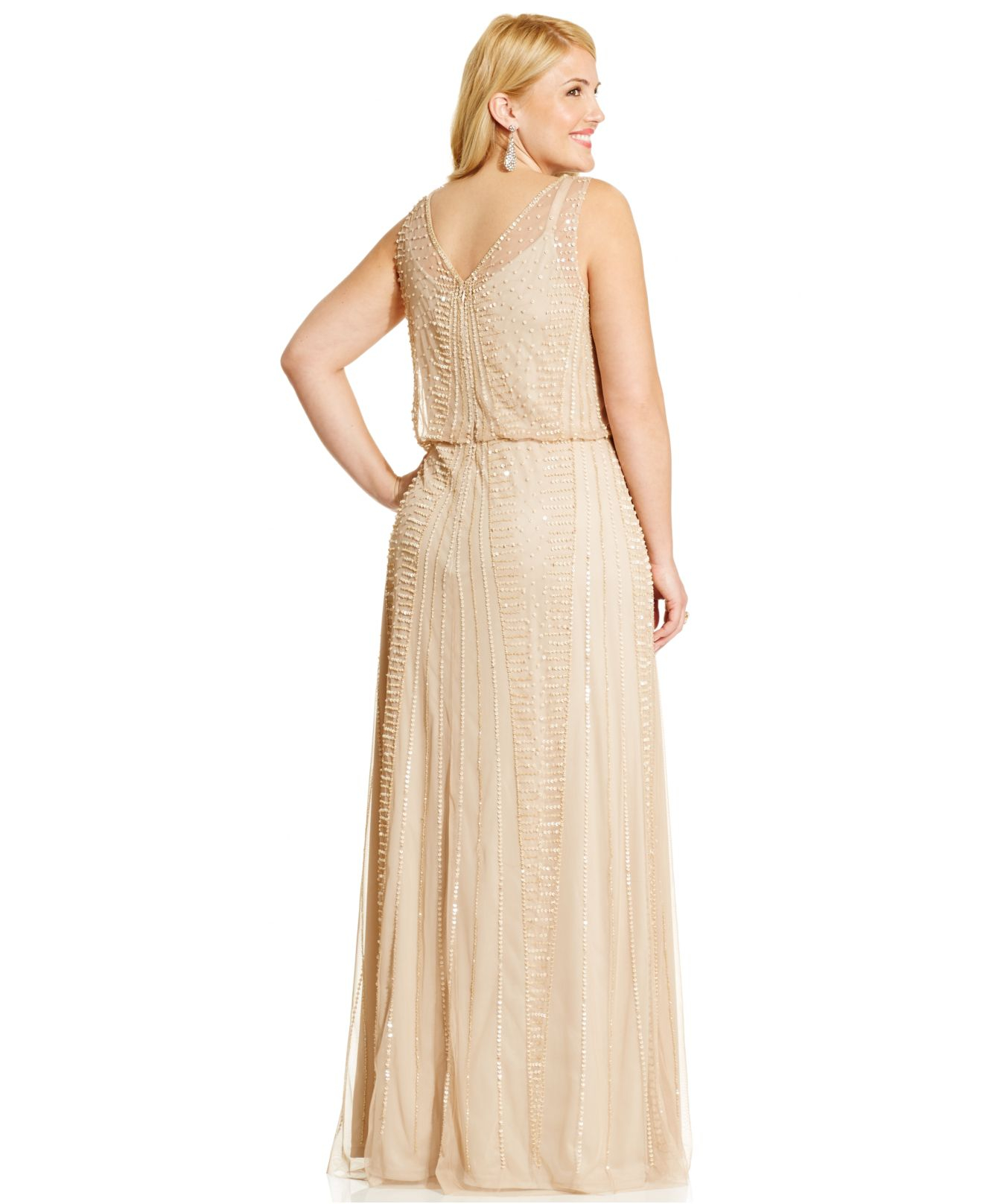 402032cf077 Lyst - Adrianna Papell Plus Size Embellished Gown in Metallic