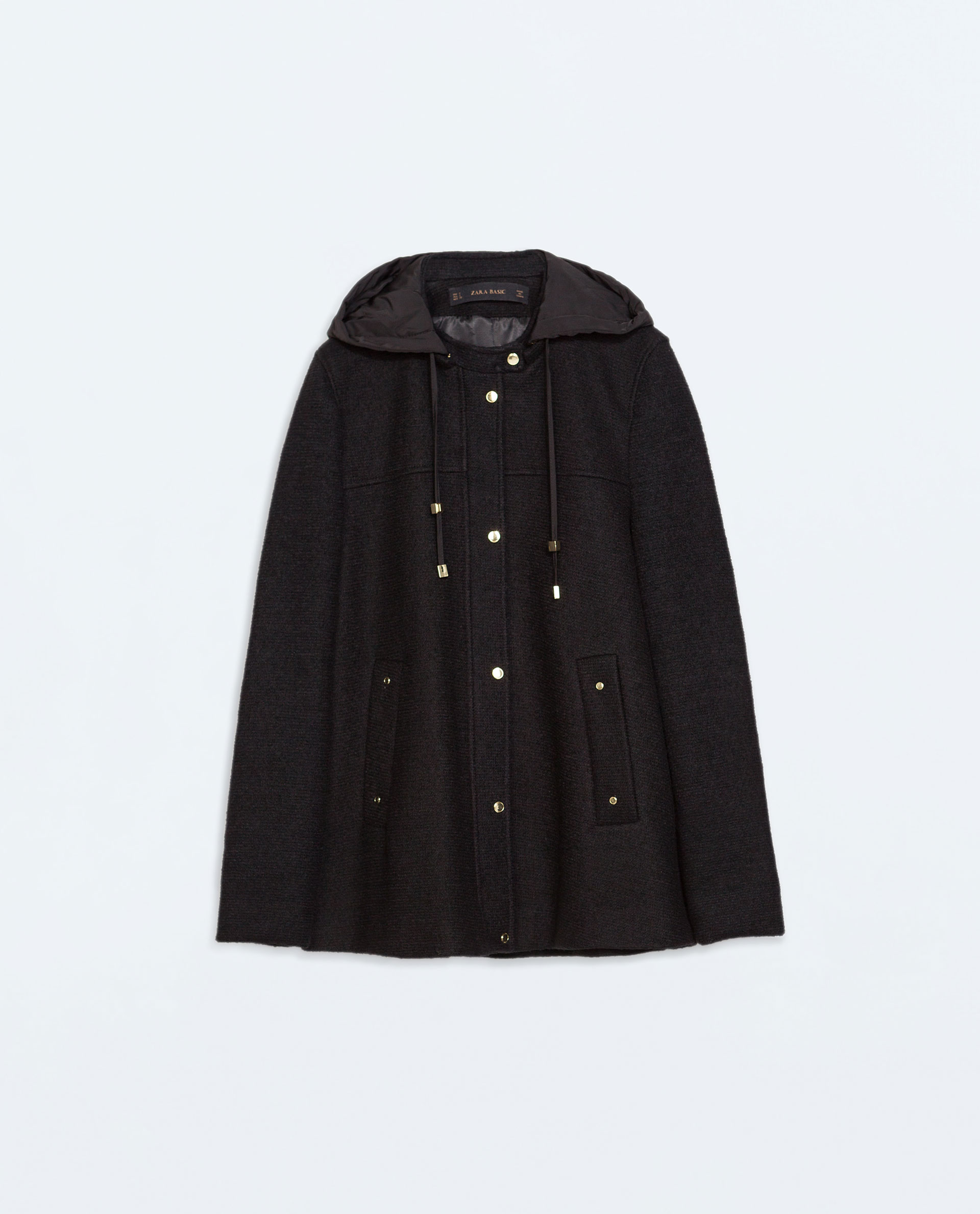 Zara Short Coat With Hood in Black | Lyst
