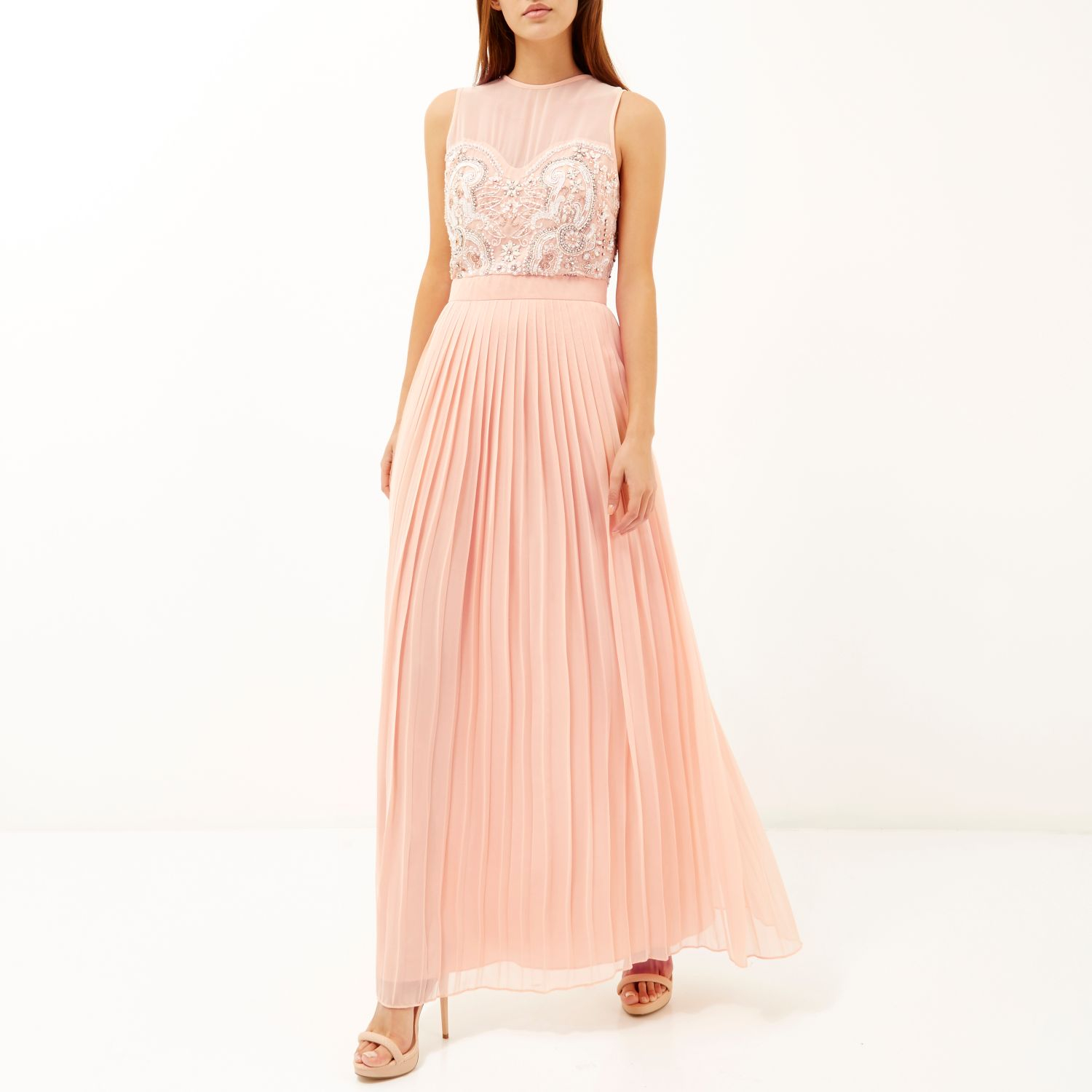 11cdd1f690 River Island Pink Sequin Embellished Maxi Prom Dress in Pink - Lyst