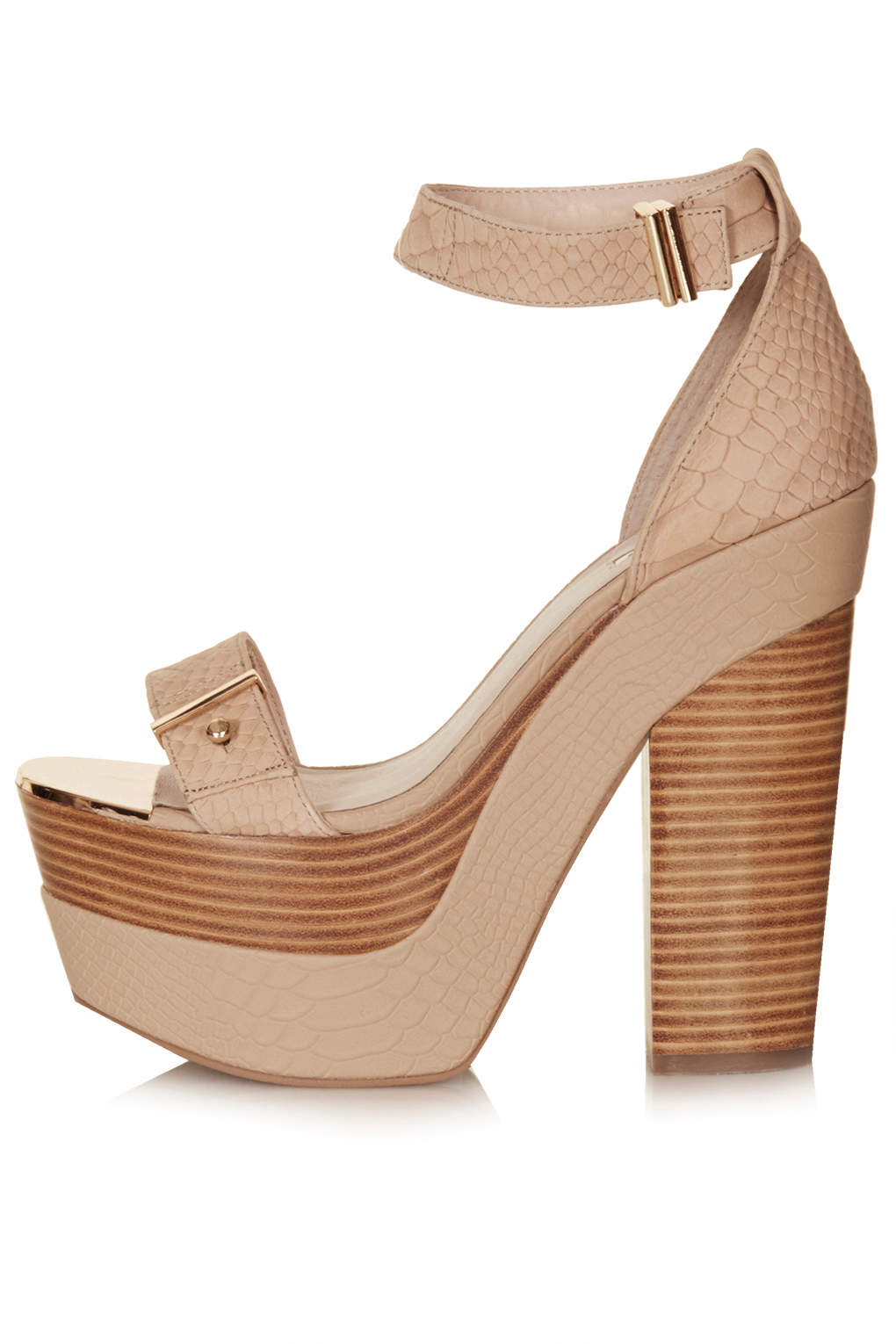 topshop lark metal platform shoes in beige lyst