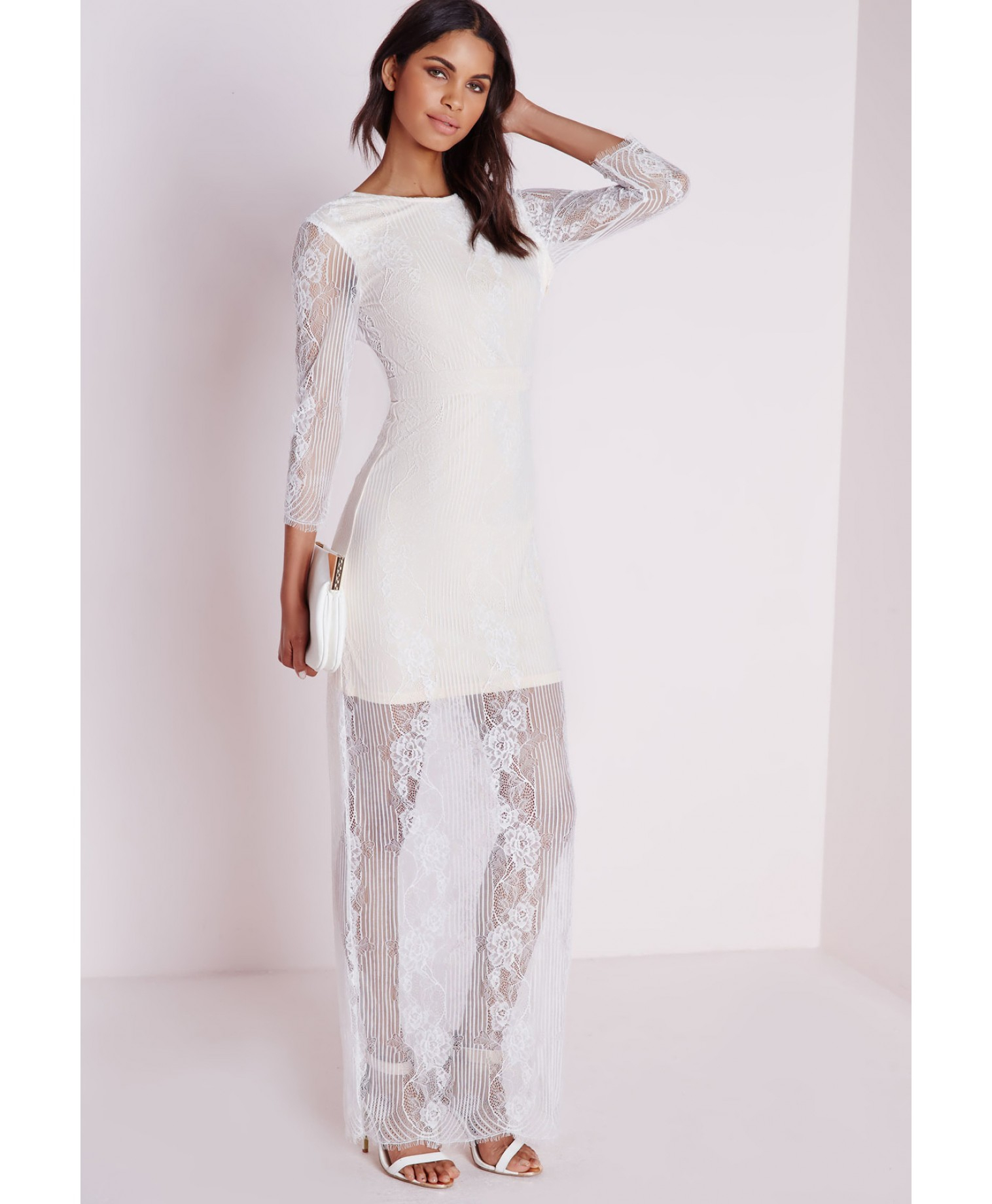 missguided lace long sleeve maxi dress white in white lyst