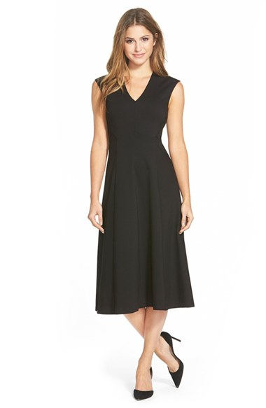 Lyst Halogen Sleeveless Fit Flare Midi Dress In Black