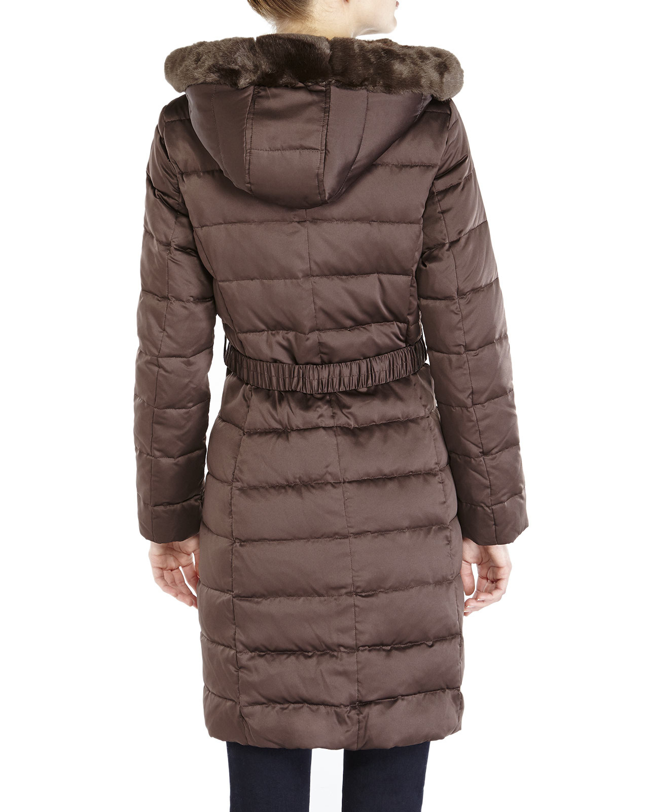 Ellen Tracy Long Quilted Coat With Fox Fur Ruff In Brown
