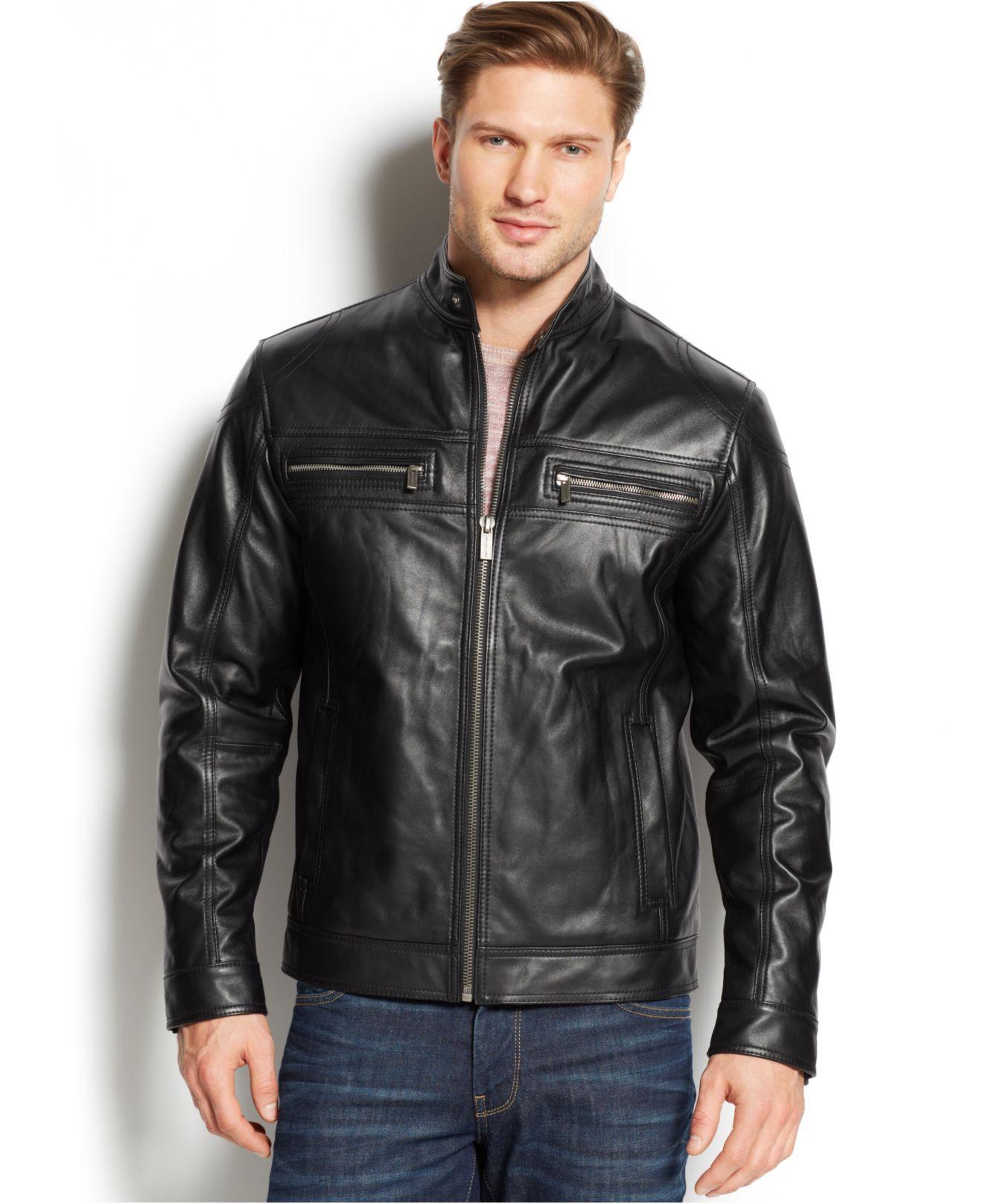 michael kors michael leather moto jacket in black for men lyst. Black Bedroom Furniture Sets. Home Design Ideas