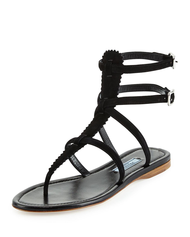 a13d81106dd Lyst - Prada Pinked Suede Flat Gladiator Sandal in Black