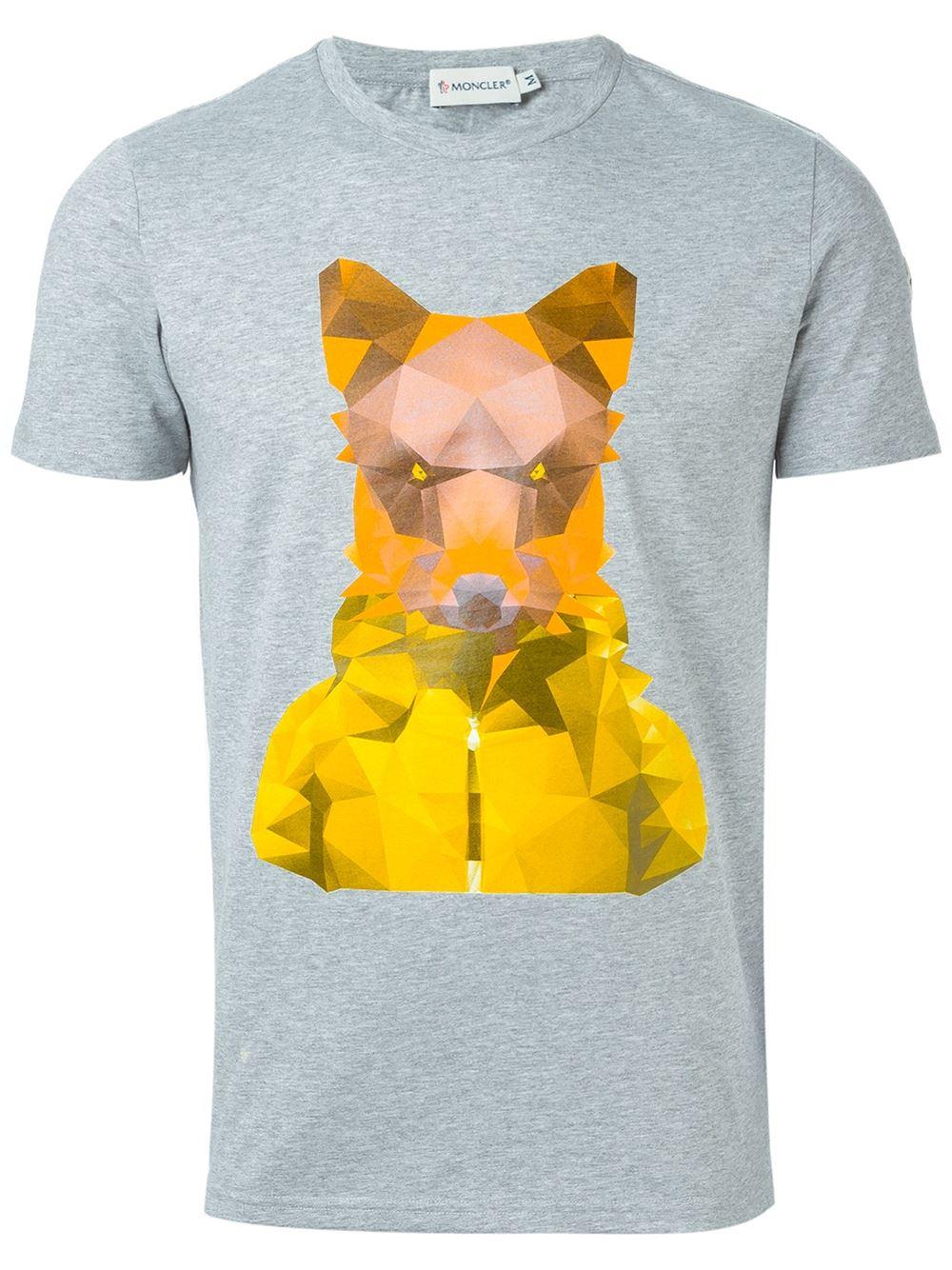 0d1f65cdb52c Lyst - Moncler Geometric Fox Print T-shirt in Gray for Men