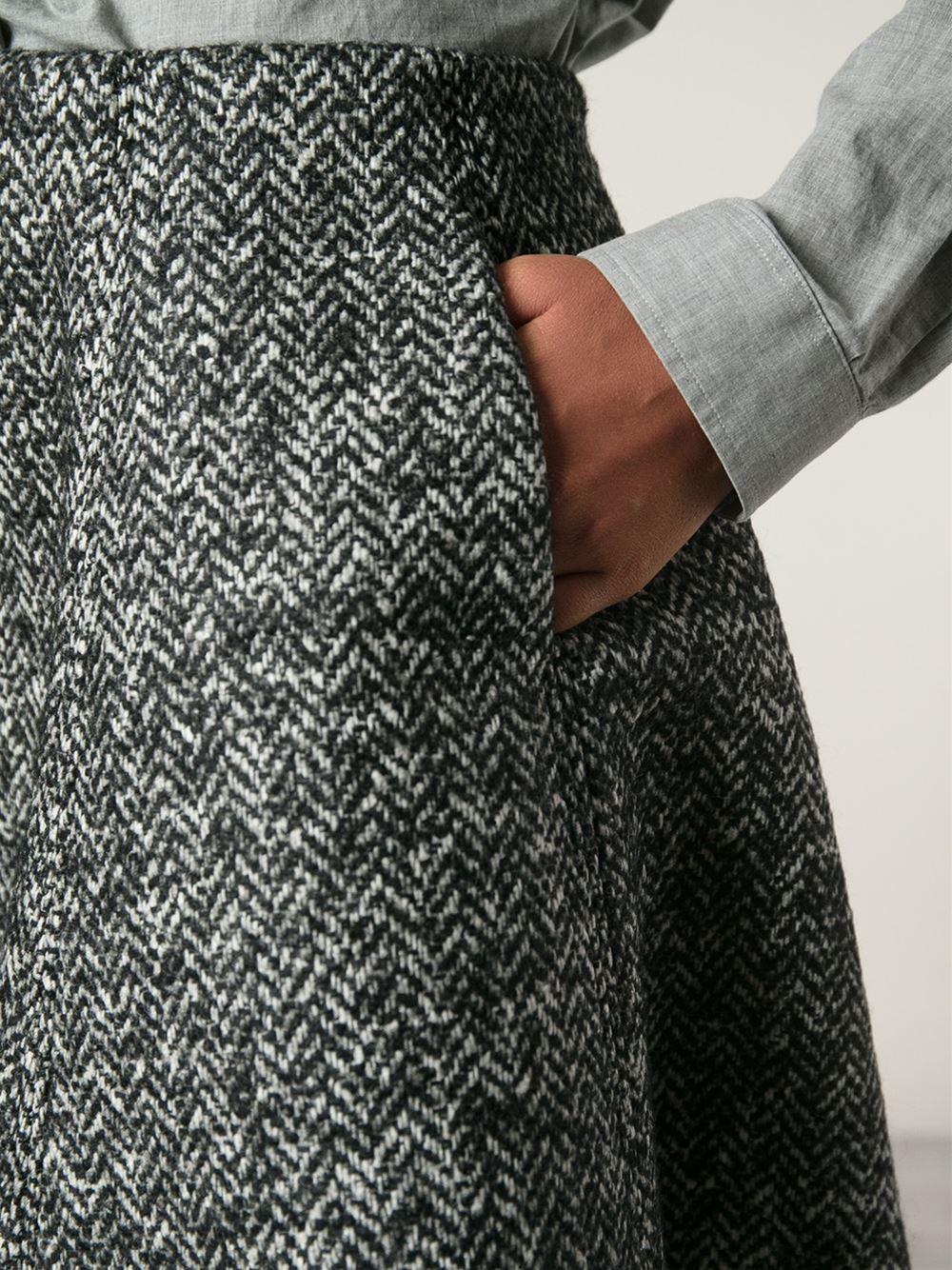 Msgm Herringbone Flared Skirt in Gray | Lyst