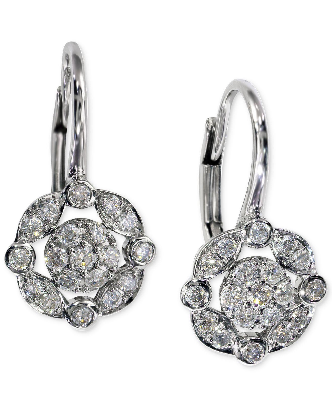 Effy collection Effy Diamond Drop Earrings 1 4 Ct T w In 14k