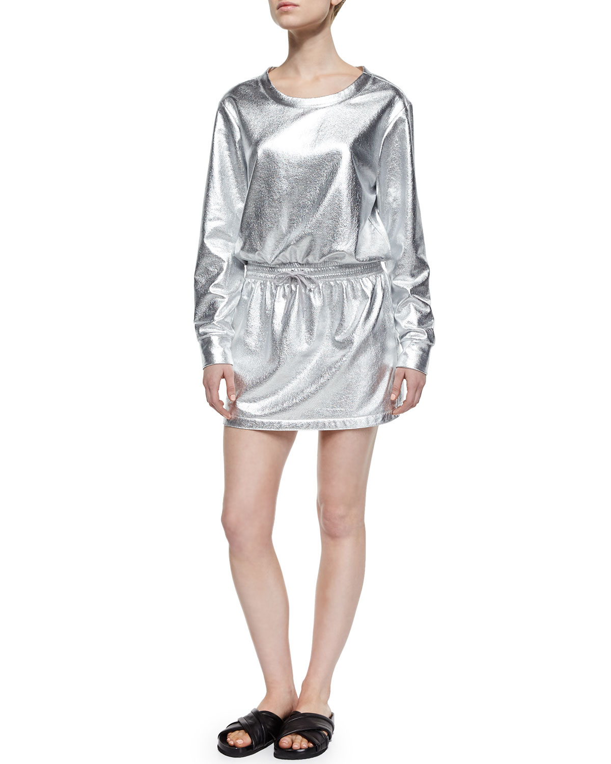 Norma kamali Boyfriend Sweater Dress in Metallic | Lyst