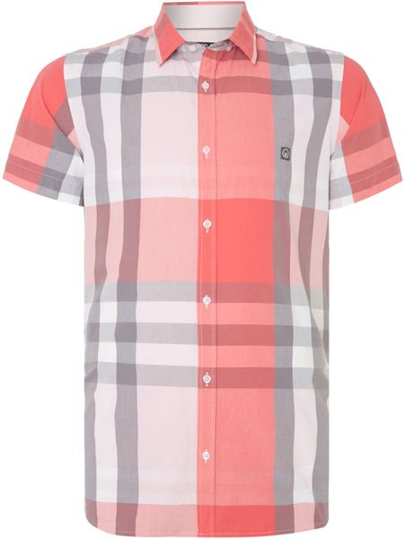 Duck and cover stripe classic fit short sleeve button down for Pastel pink button down shirt