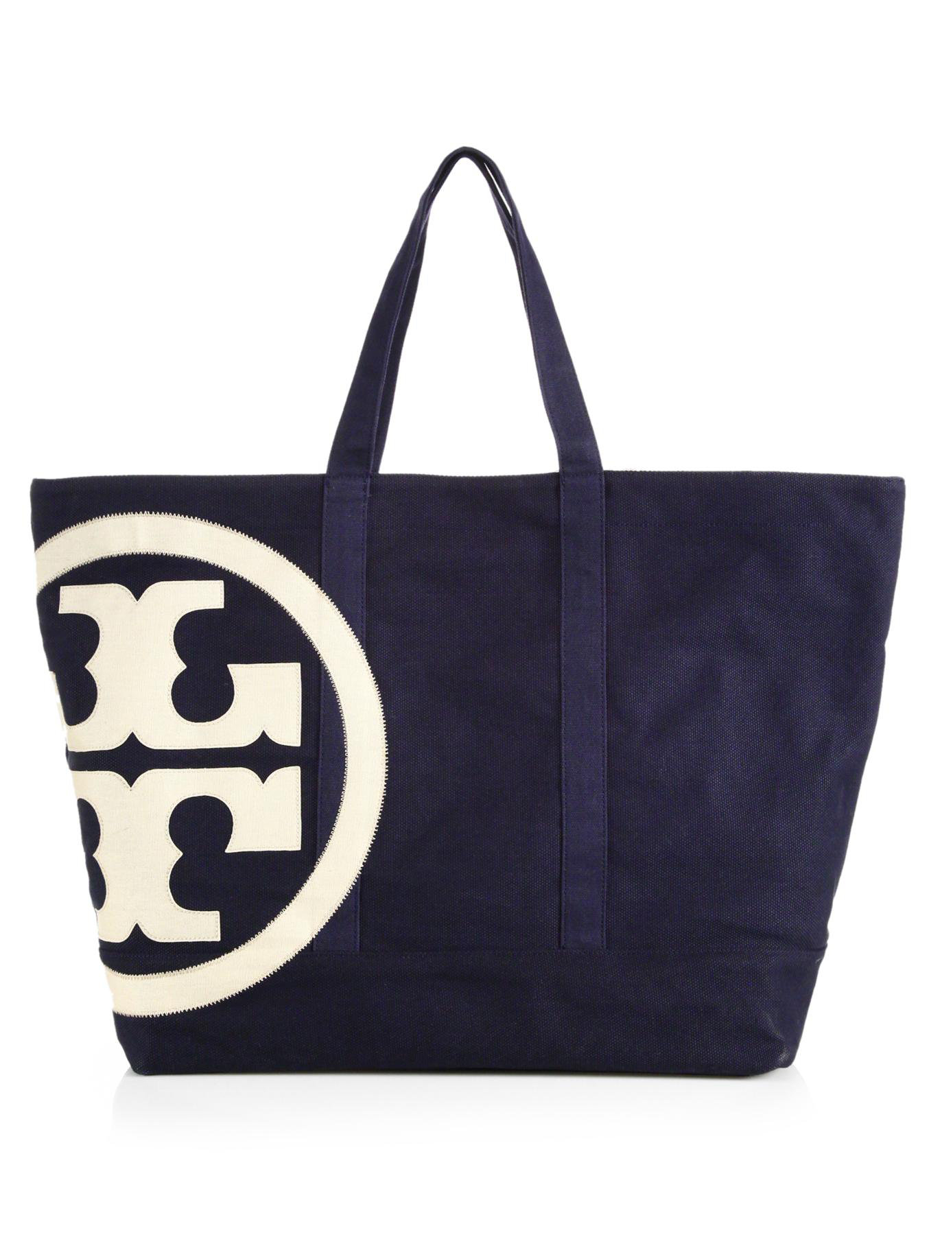 Tory burch Beach Zip Canvas Tote in Blue | Lyst