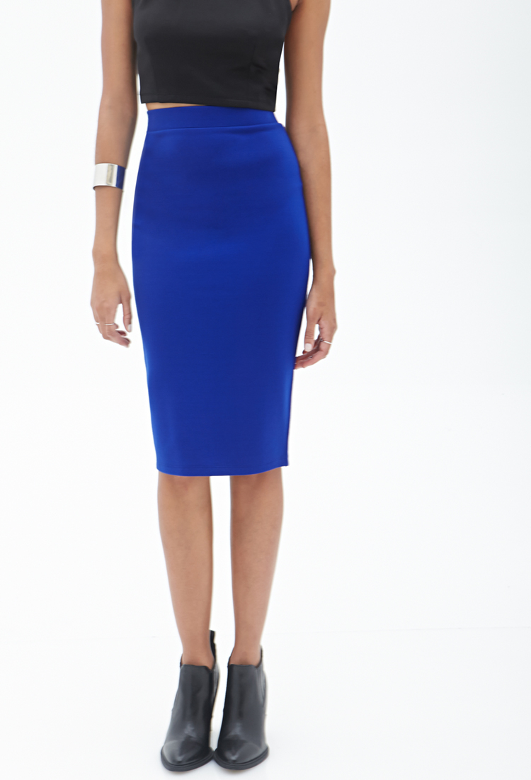 Forever 21 Stretch-Fit Pencil Skirt in Blue | Lyst