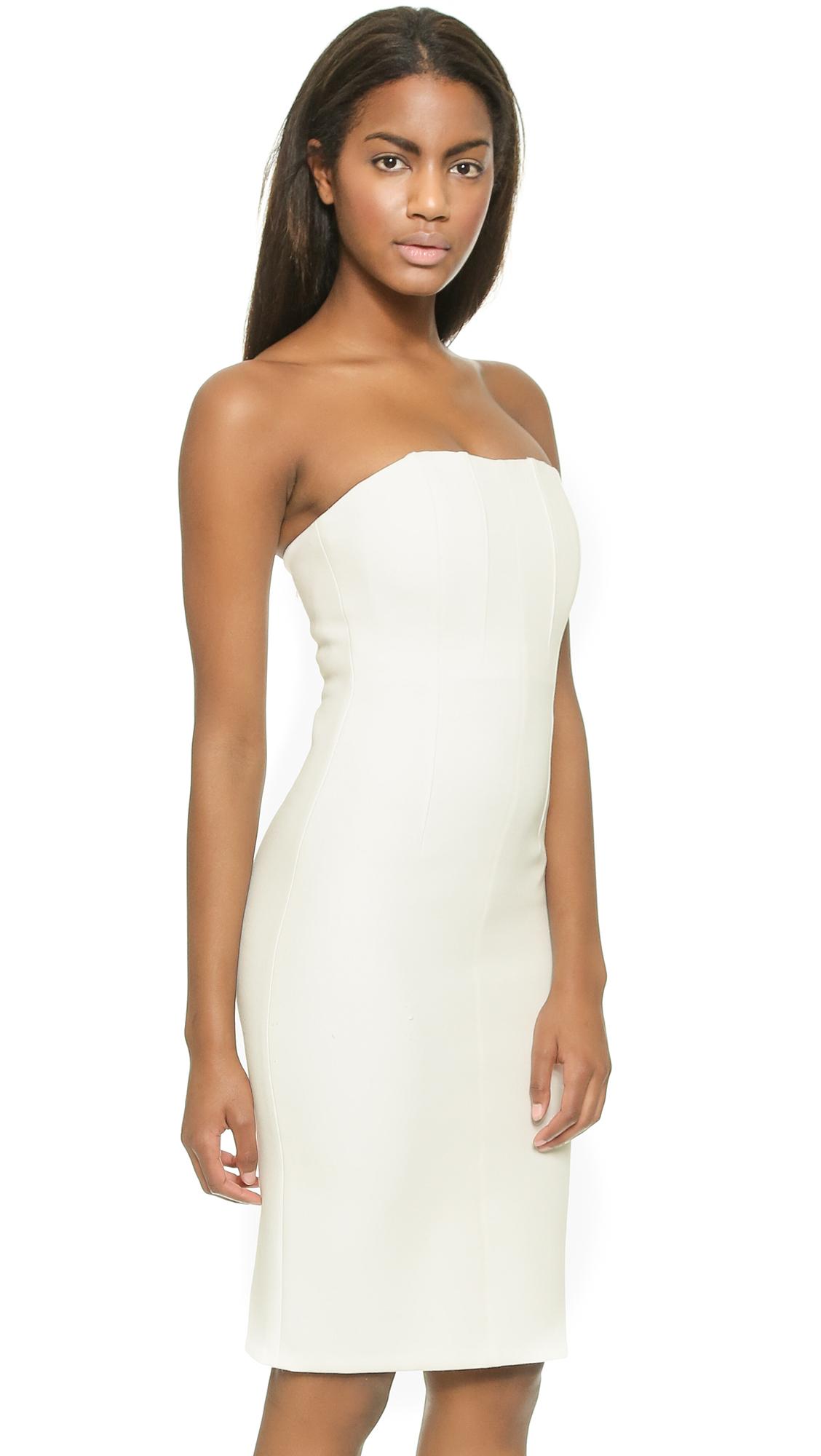 Alice   olivia Nita Slim Fitted Strapless Dress - Off White in ...