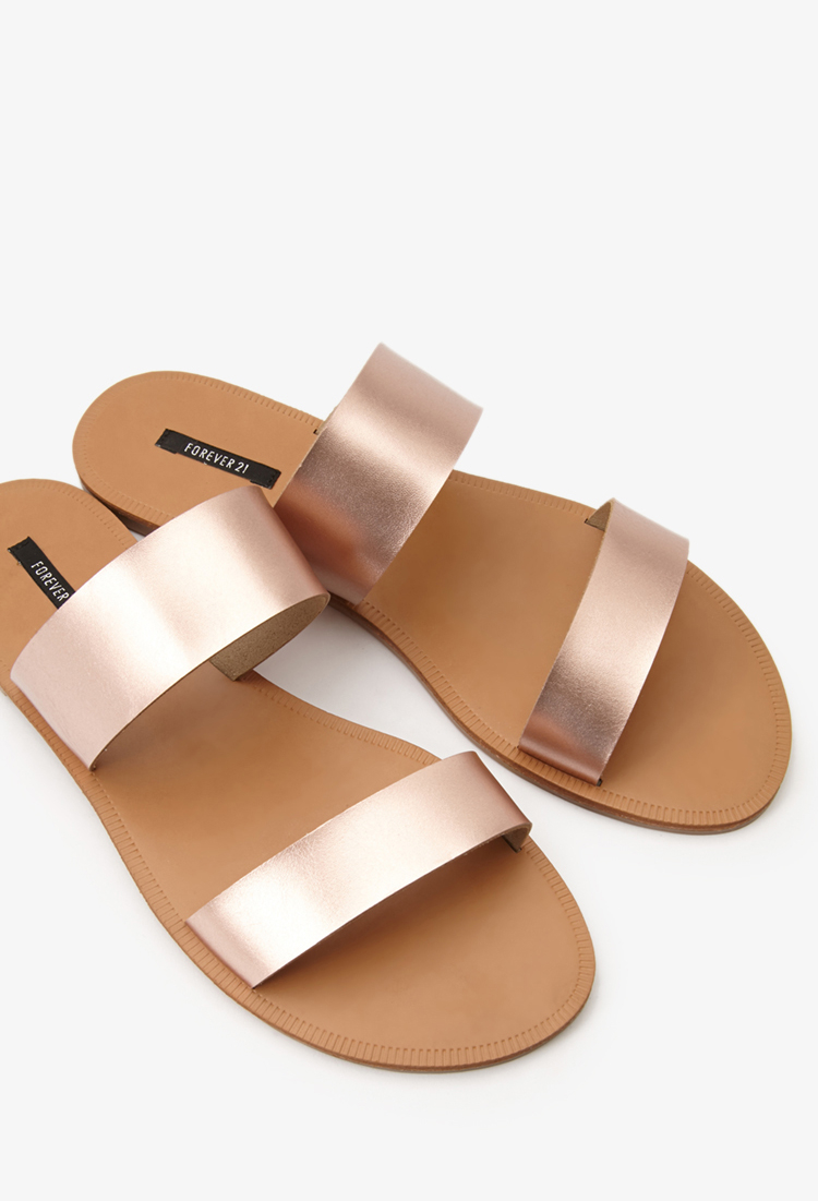 Forever 21 Metallic Strap Sandals In Pink Lyst