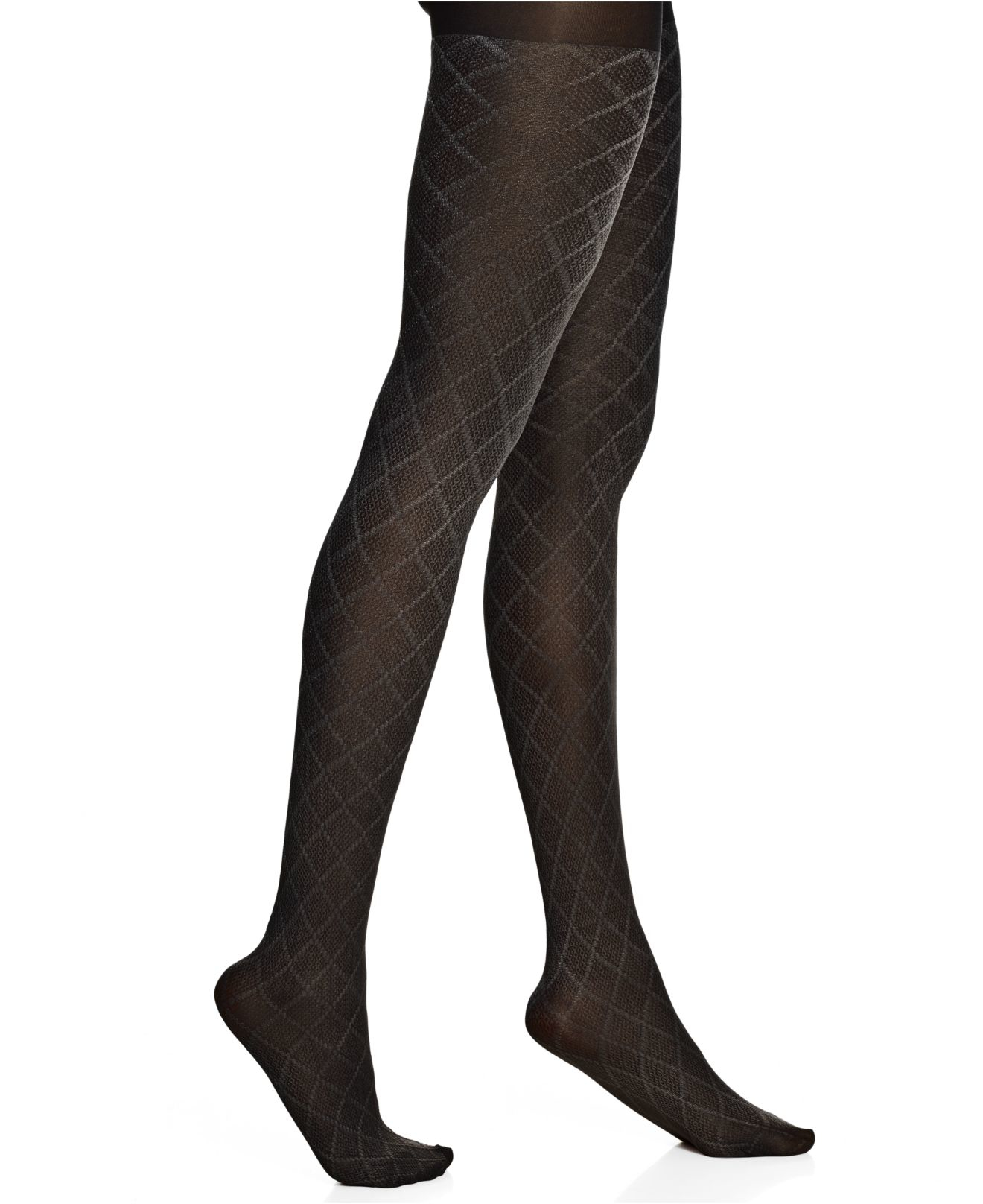 77b7c0d56b6 Hue Texture Diamond Tights in Black - Lyst