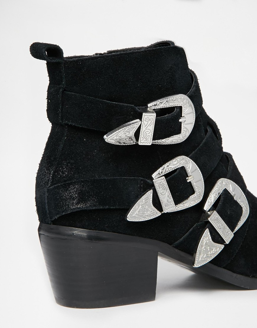 Lyst Asos Rocker And Roller Western Buckle Ankle Boots