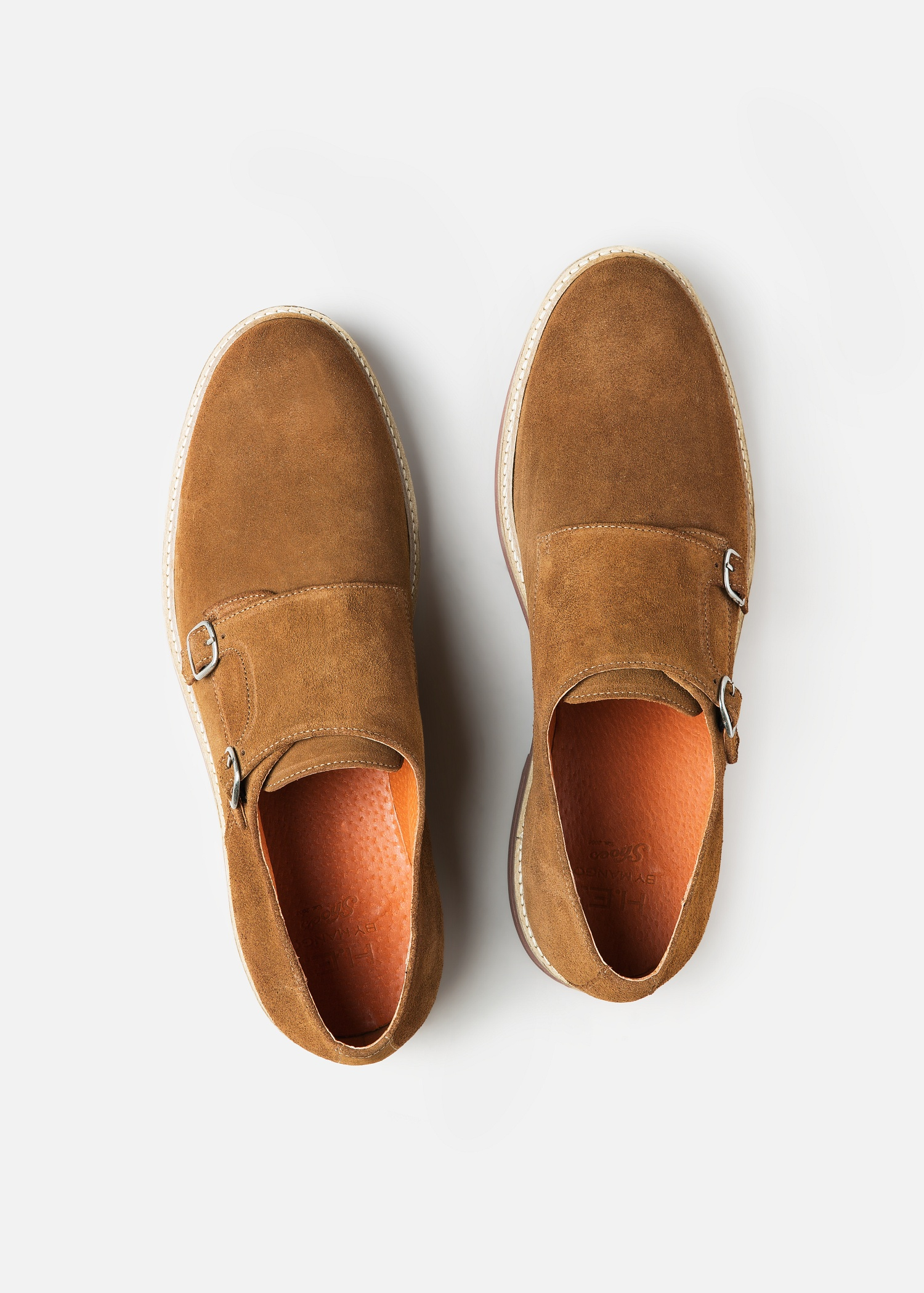 Lyst Mango Suede Monk Strap Shoes In Brown For Men