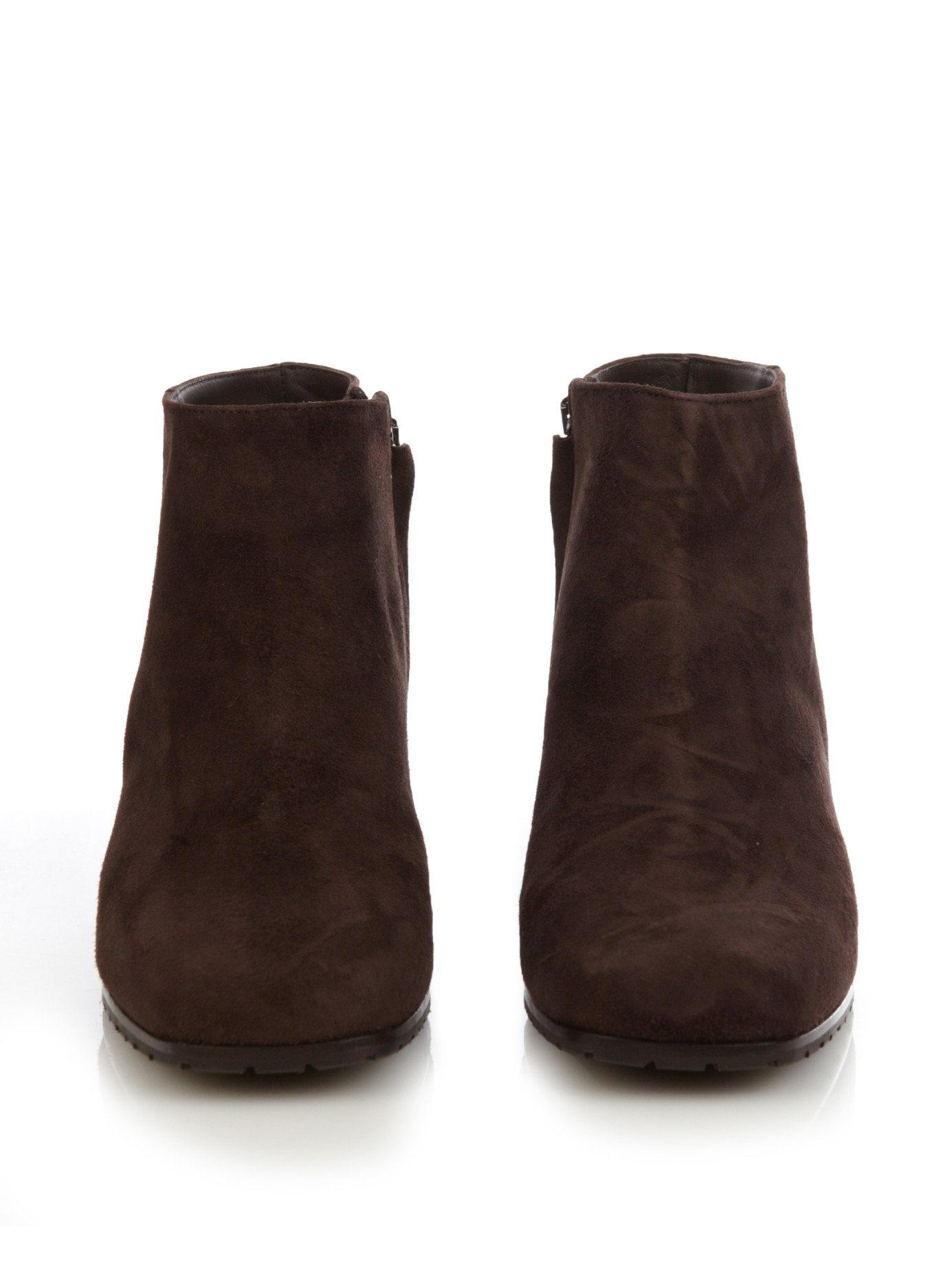 Max mara Struzzo Suede Ankle Boots in Brown | Lyst