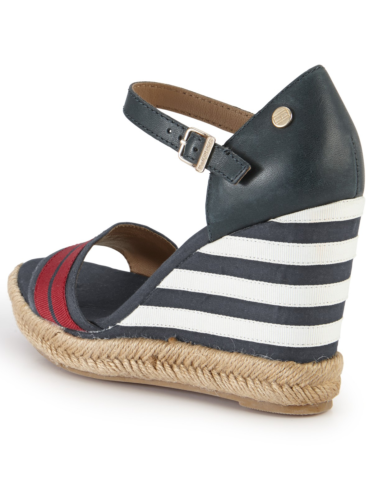 Tommy Hilfiger Emery Stripe Wedge Sandals In Blue Red