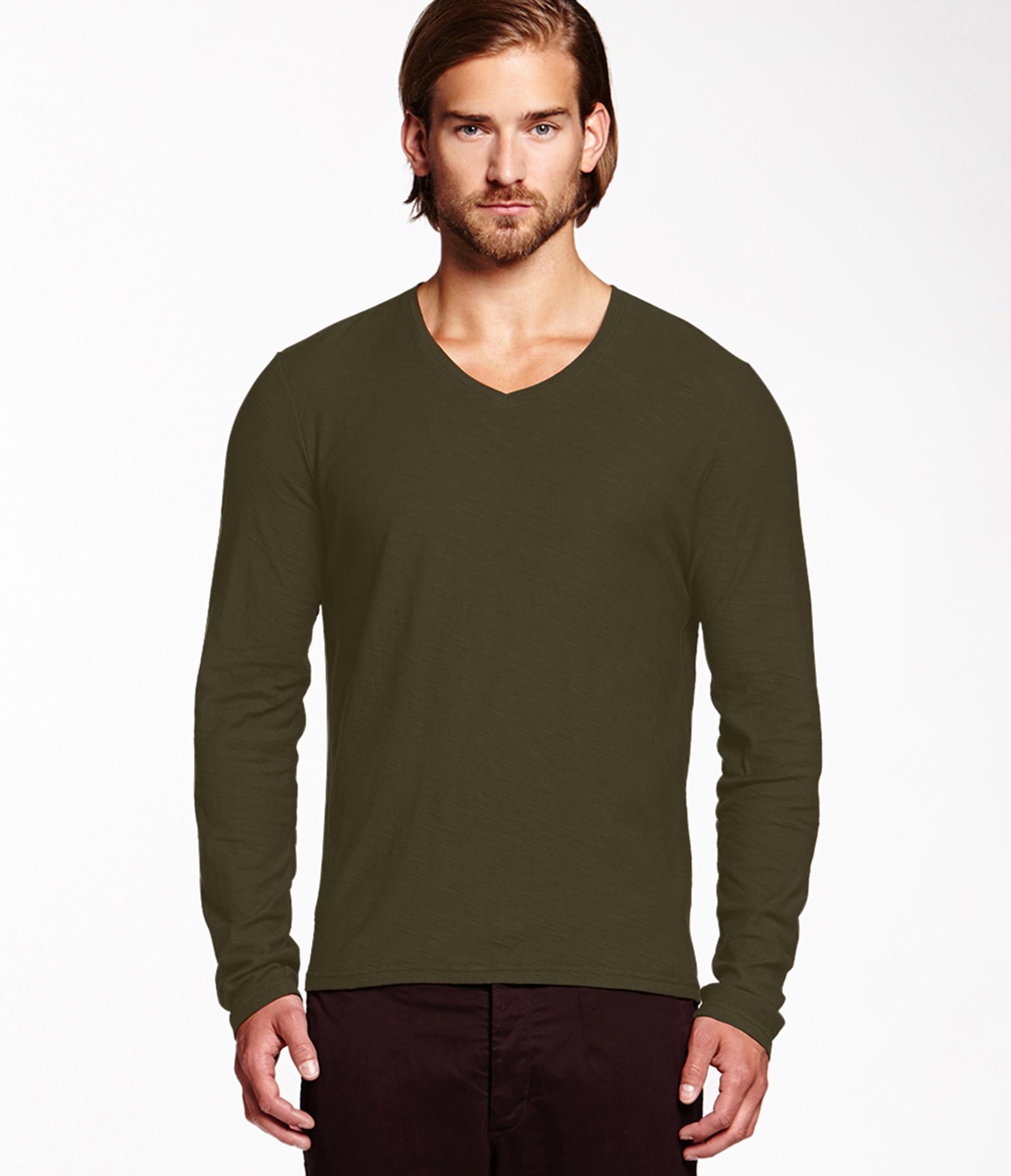 Michael stars california slub long sleeve v neck tee in for Michael stars tee shirts