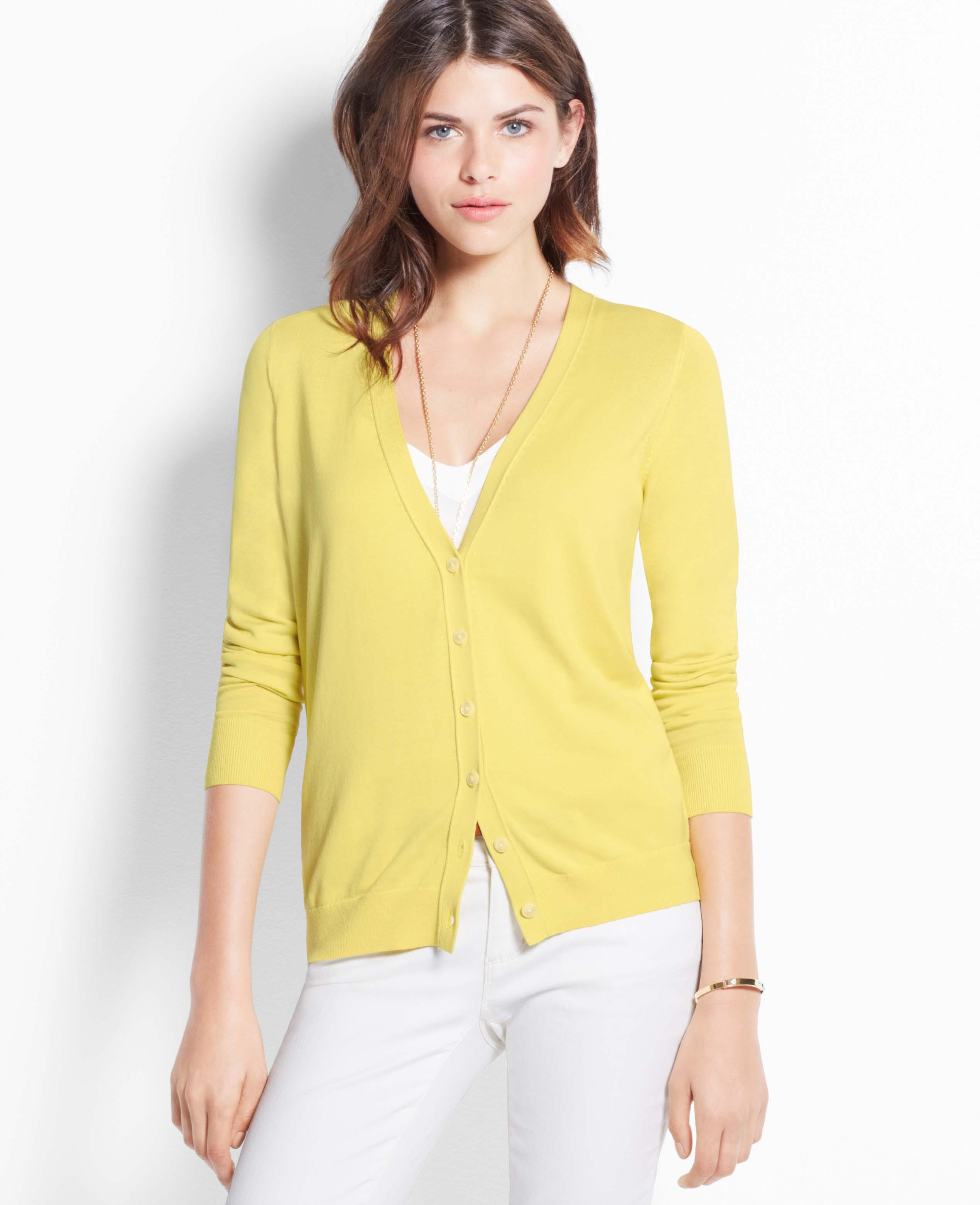 Ann taylor Petite Silk Cotton Cardigan in Yellow | Lyst
