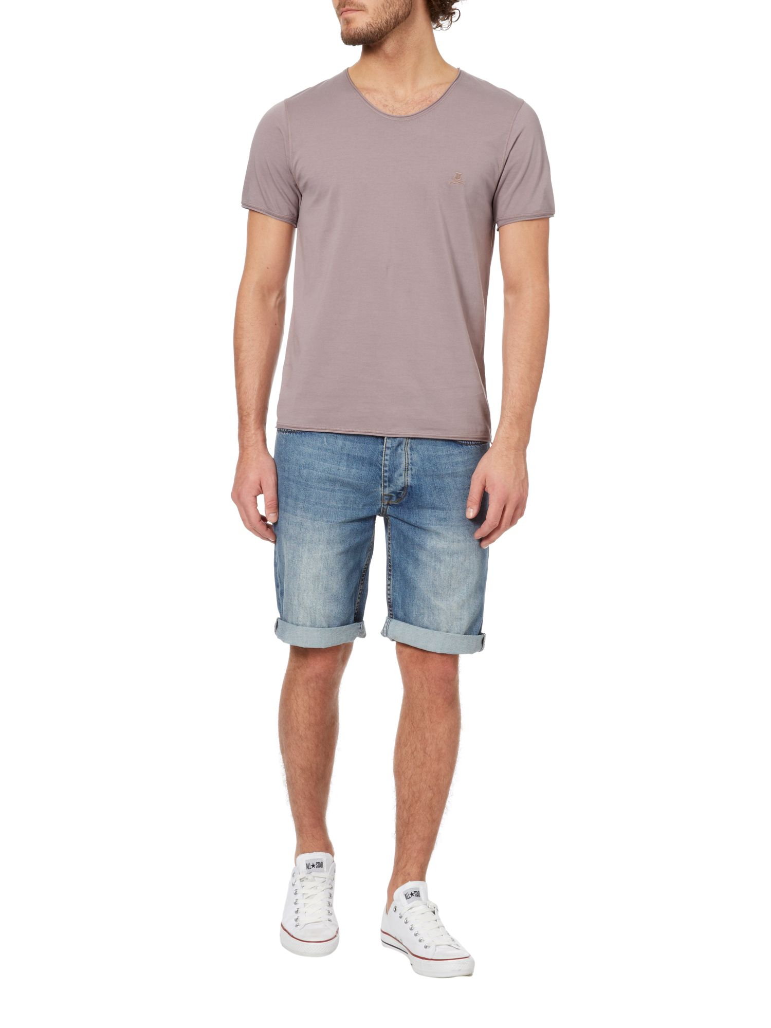 Lyst Label Lab Band Pigment Jersey Scoop Neck Tshirt In Purple For Men