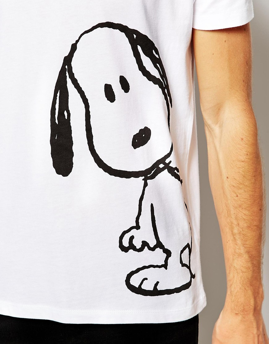 asos t shirt with snoopy print in white for men lyst. Black Bedroom Furniture Sets. Home Design Ideas
