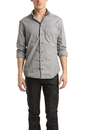 Lyst blue cream grey micro check gingham button down for Mens grey button down dress shirt