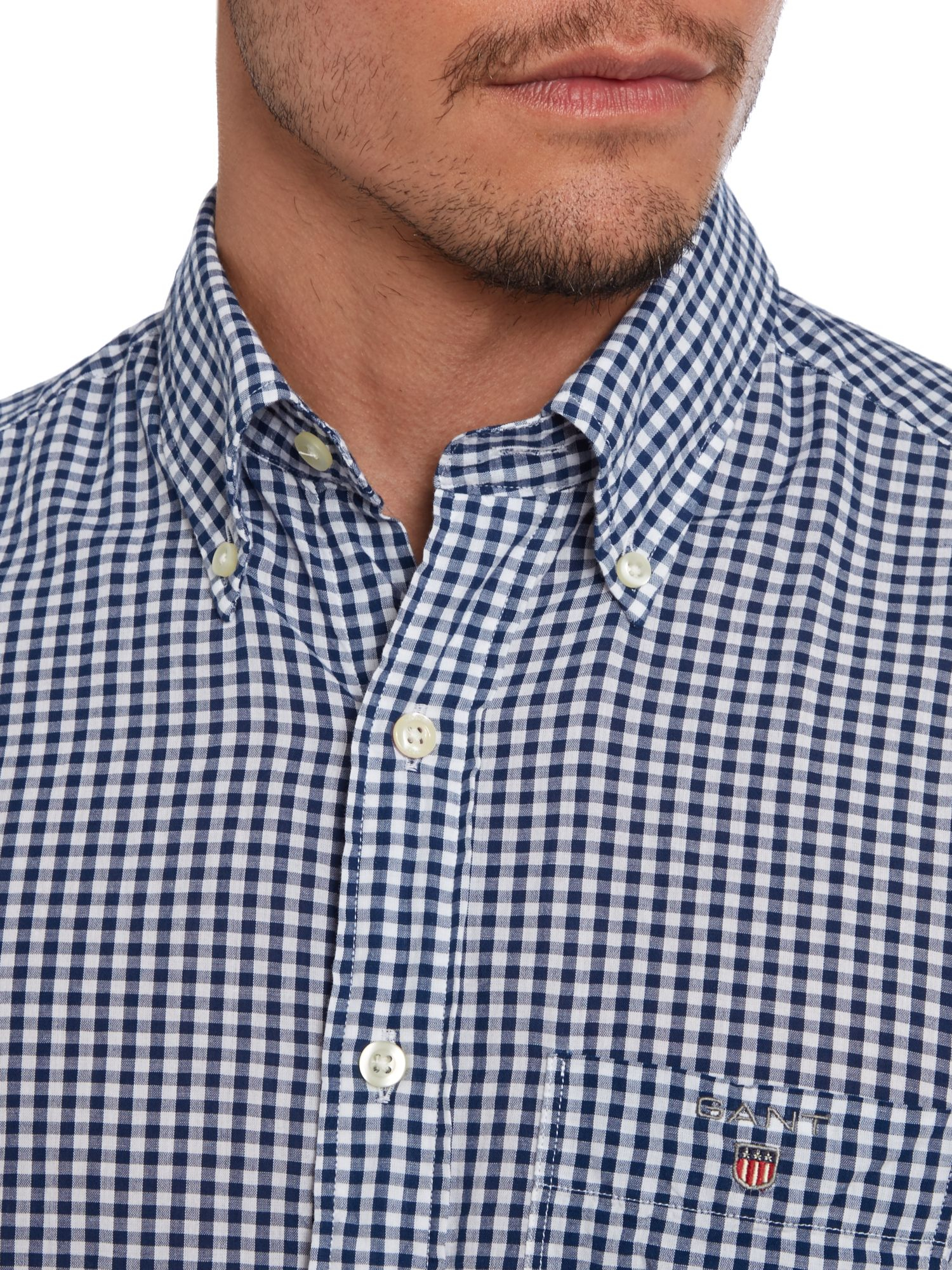 Lyst gant brightwaters gingham shirt in blue for men for Mens blue gingham shirt