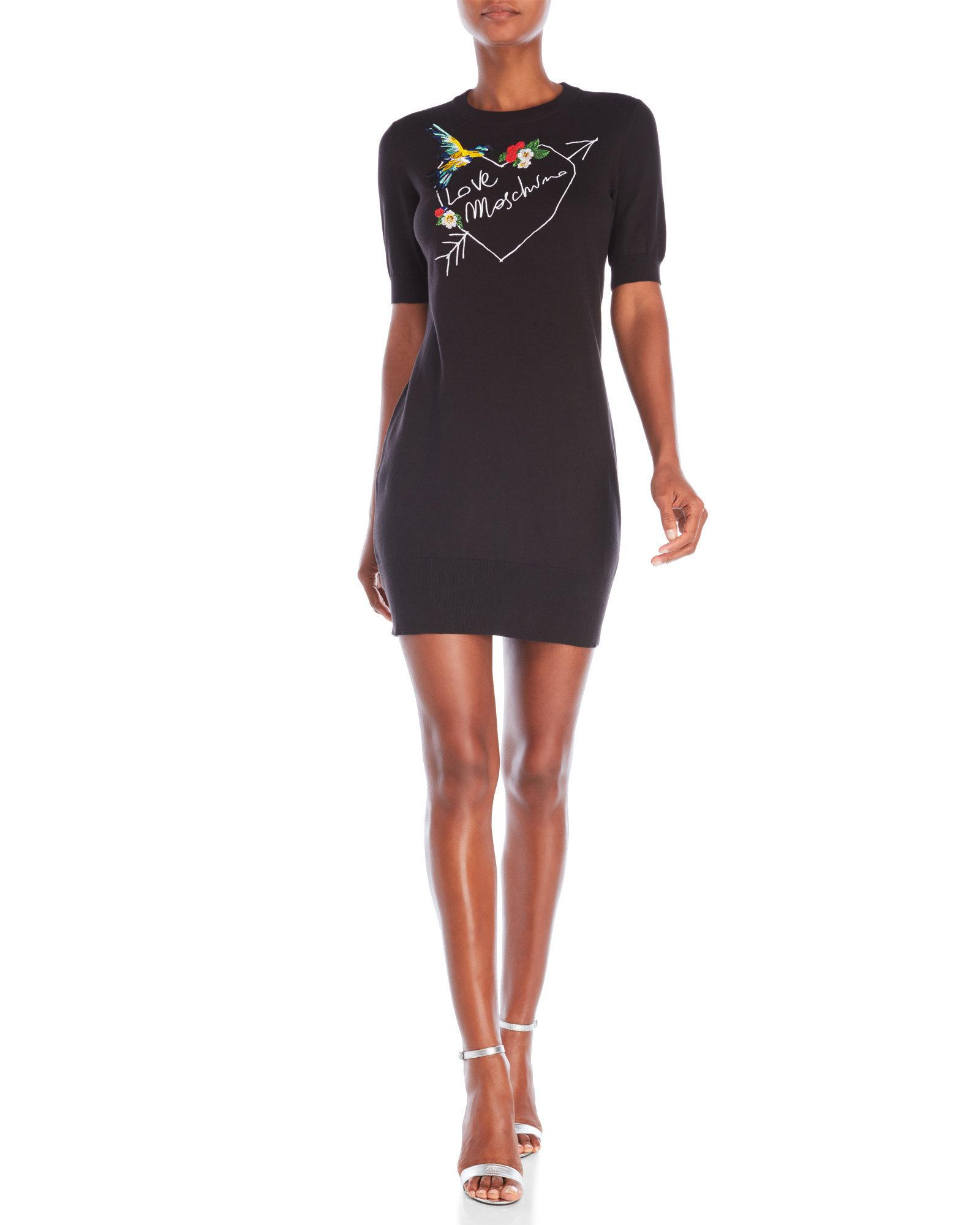 Lyst - Love Moschino Embroidered Sweater Dress in Black 0db030c57e4