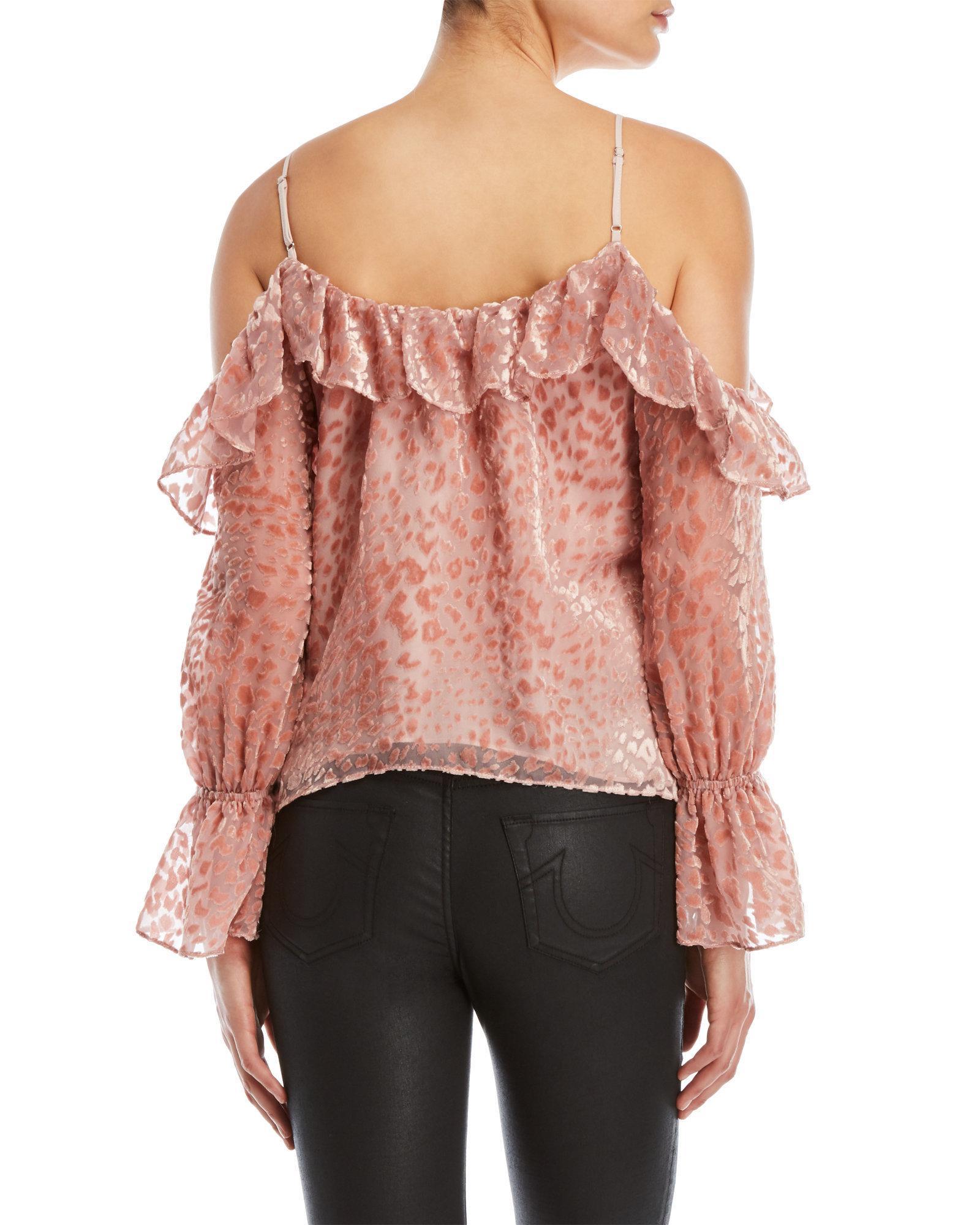 3e7e410289ff1 Lyst - Parker Renzo Cold Shoulder Velvet Top in Pink