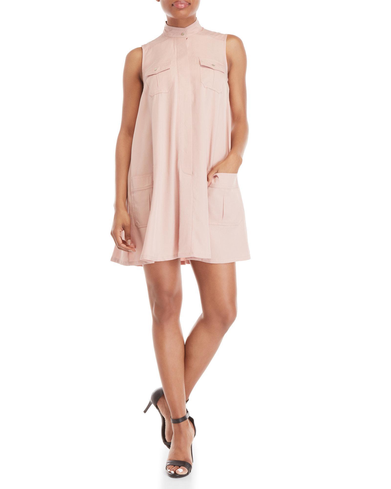 Lyst Sharagano Petite Sleeveless Flap Pocket Shirtdress In Pink