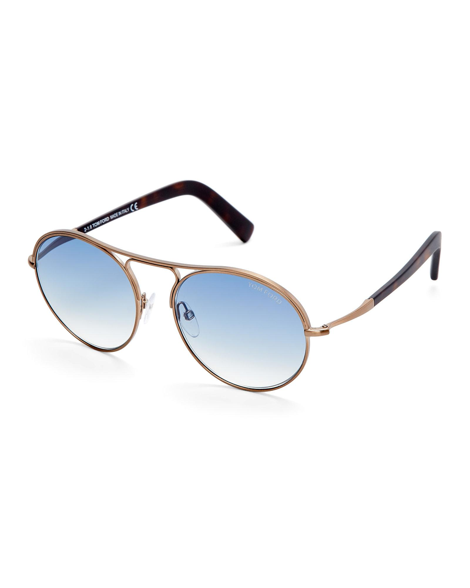 2d835c1f60 Lyst - Tom Ford Tf449 Jessie Round Sunglasses in Blue