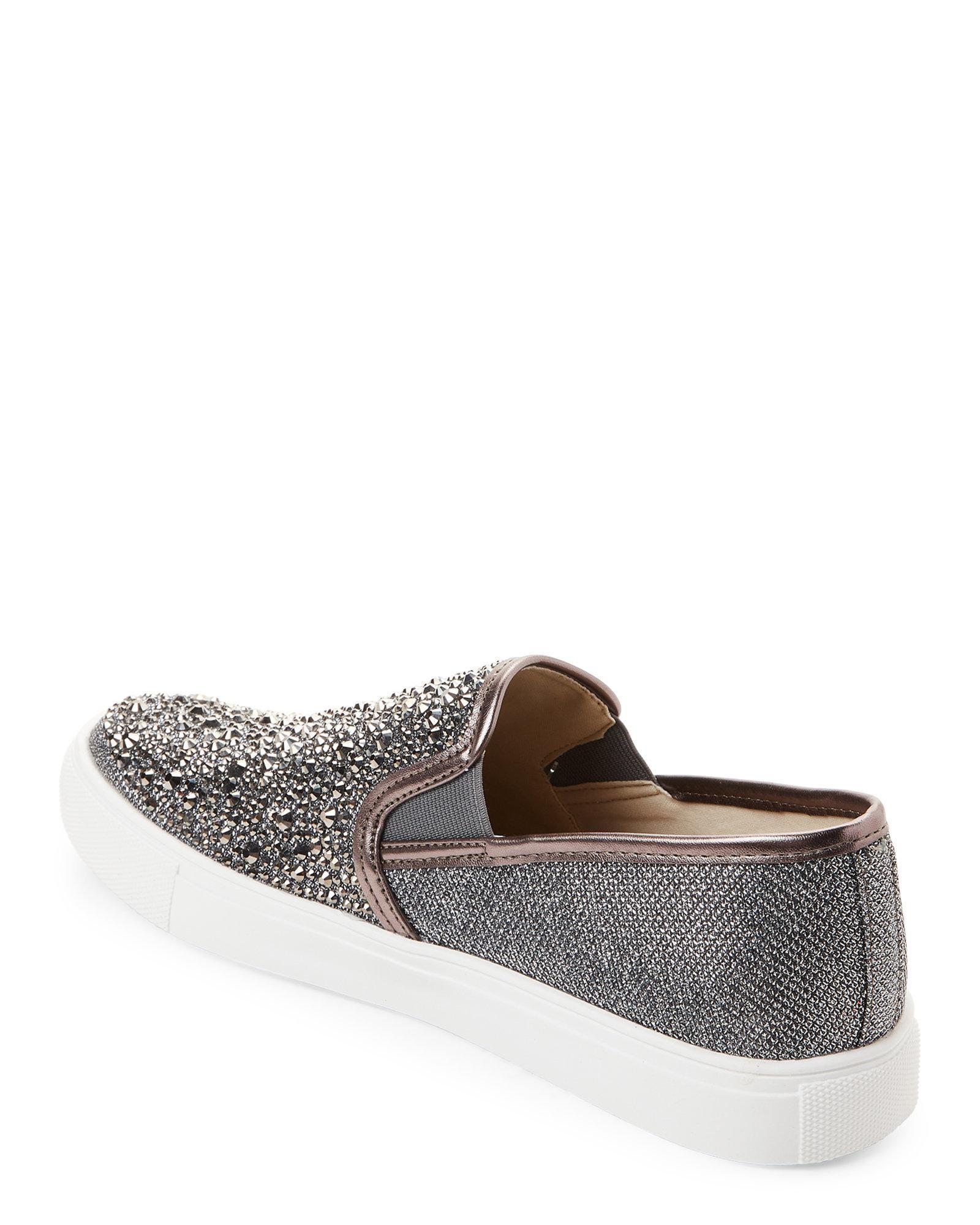 8280f1d880a8 Lyst - Steve Madden Pewter Macky Rhinestone Slip-on Sneakers