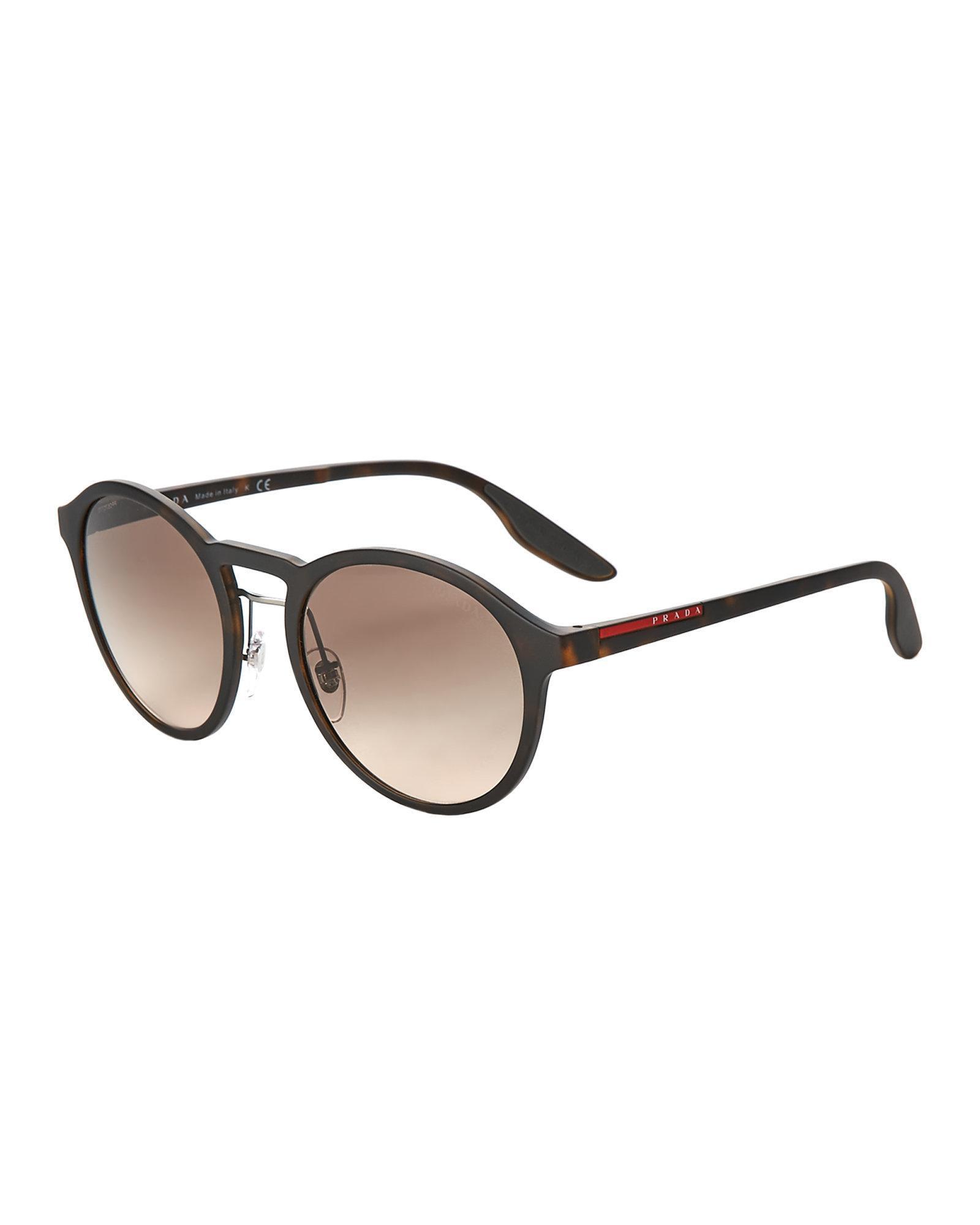 262f78bf69f1 ... closeout lyst prada sport sps 01s tortoiseshell look round sunglasses  in 537c0 27b7d ...